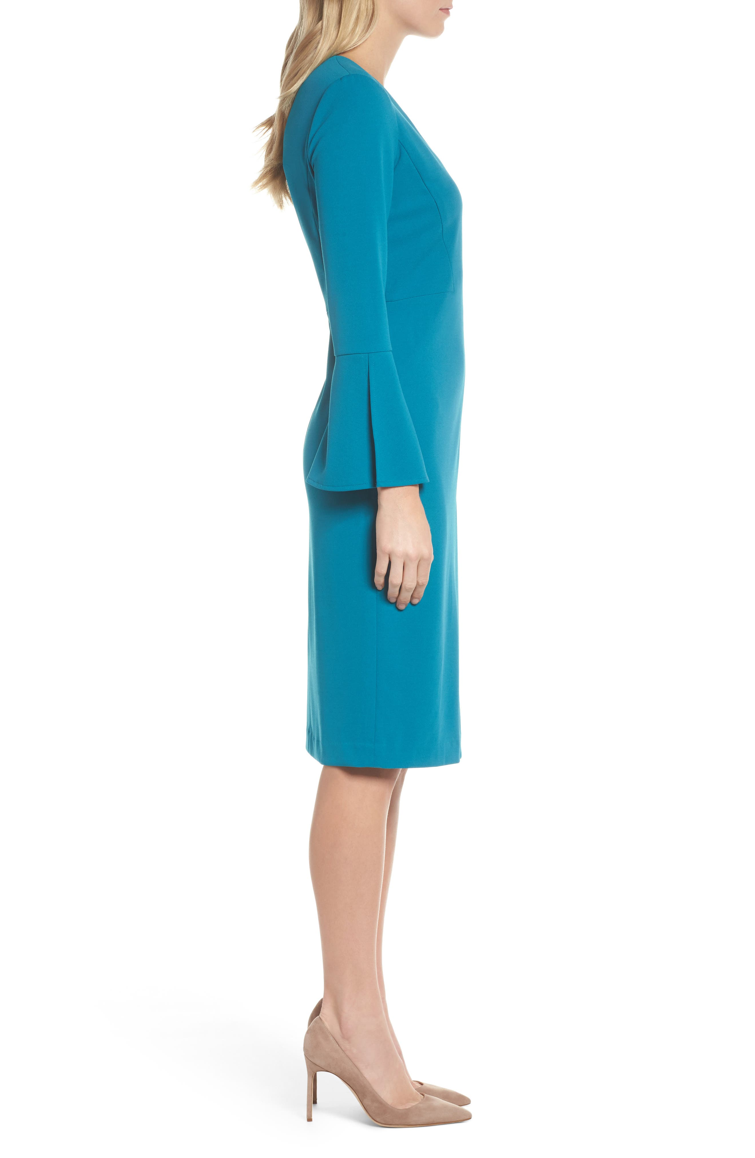 Bell Sleeve Sheath Dress,                             Alternate thumbnail 3, color,                             Teal