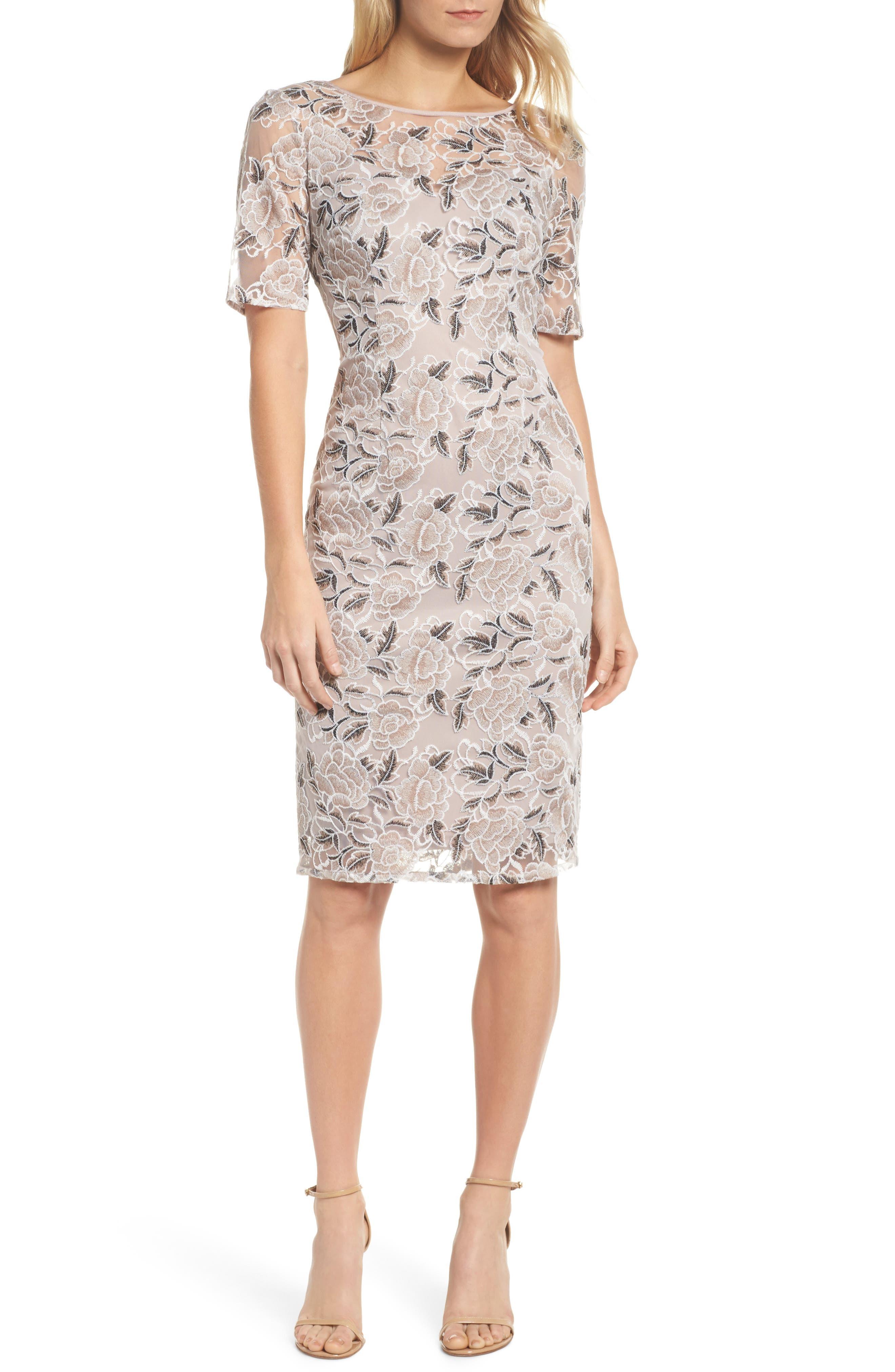 Suzette Embroidered Sheath Dress,                         Main,                         color, Pink Cinnamon Multi