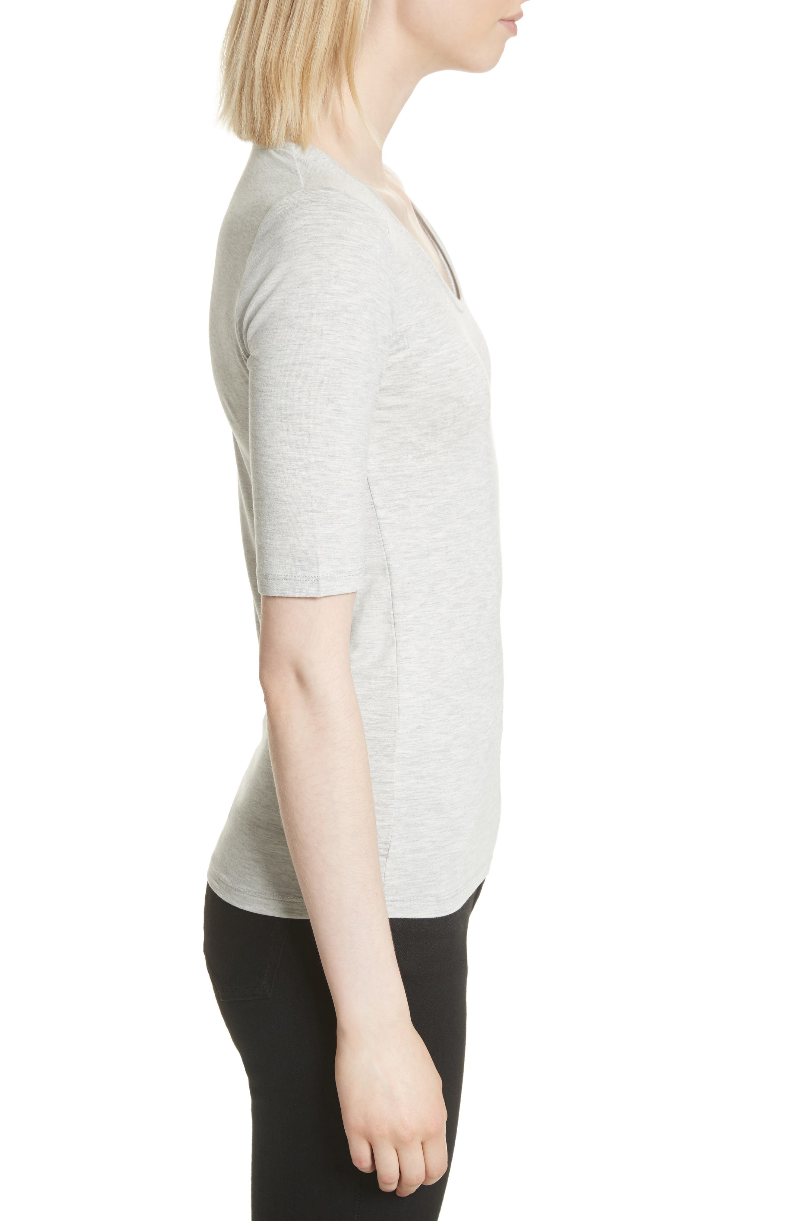 Soft Touch Elbow Sleeve Tee,                             Alternate thumbnail 3, color,                             Nacre Chine