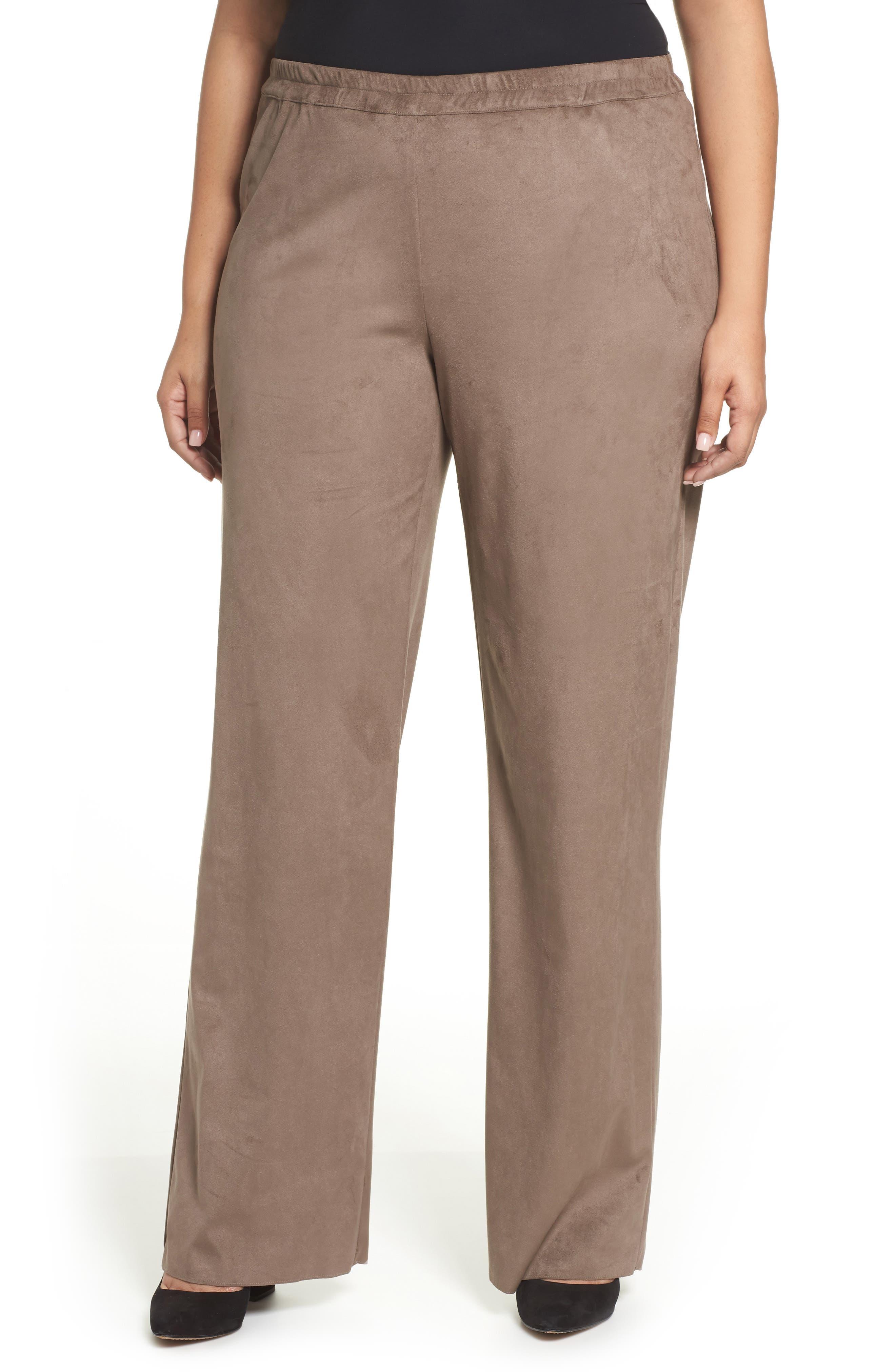 Rosa Faux Suede Knit Pants,                         Main,                         color, Dark Beige