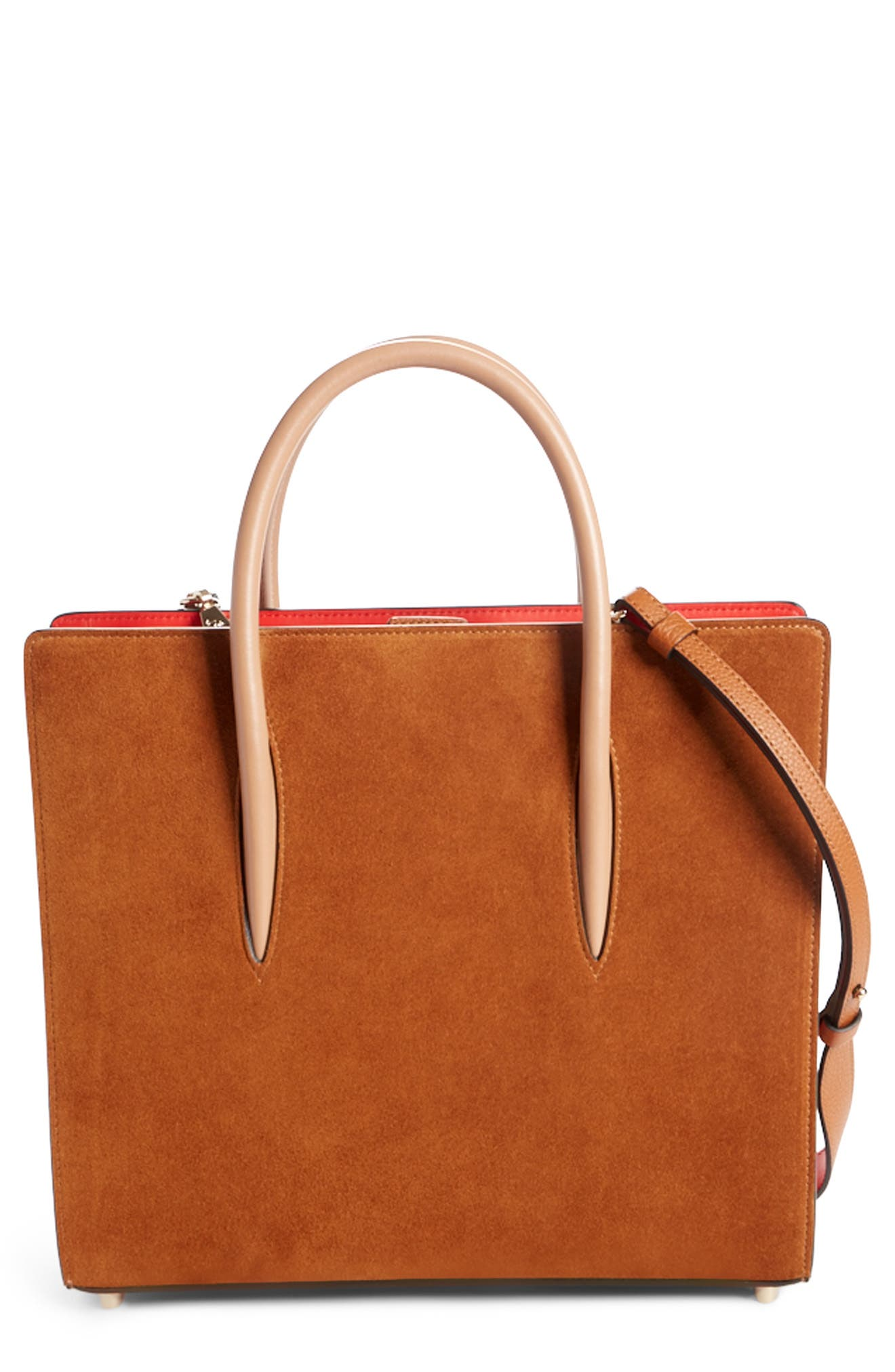 Medium Paloma Loubiwoodstock V Suede & Leather Tote,                             Main thumbnail 1, color,                             Cannelle/ Cannelle