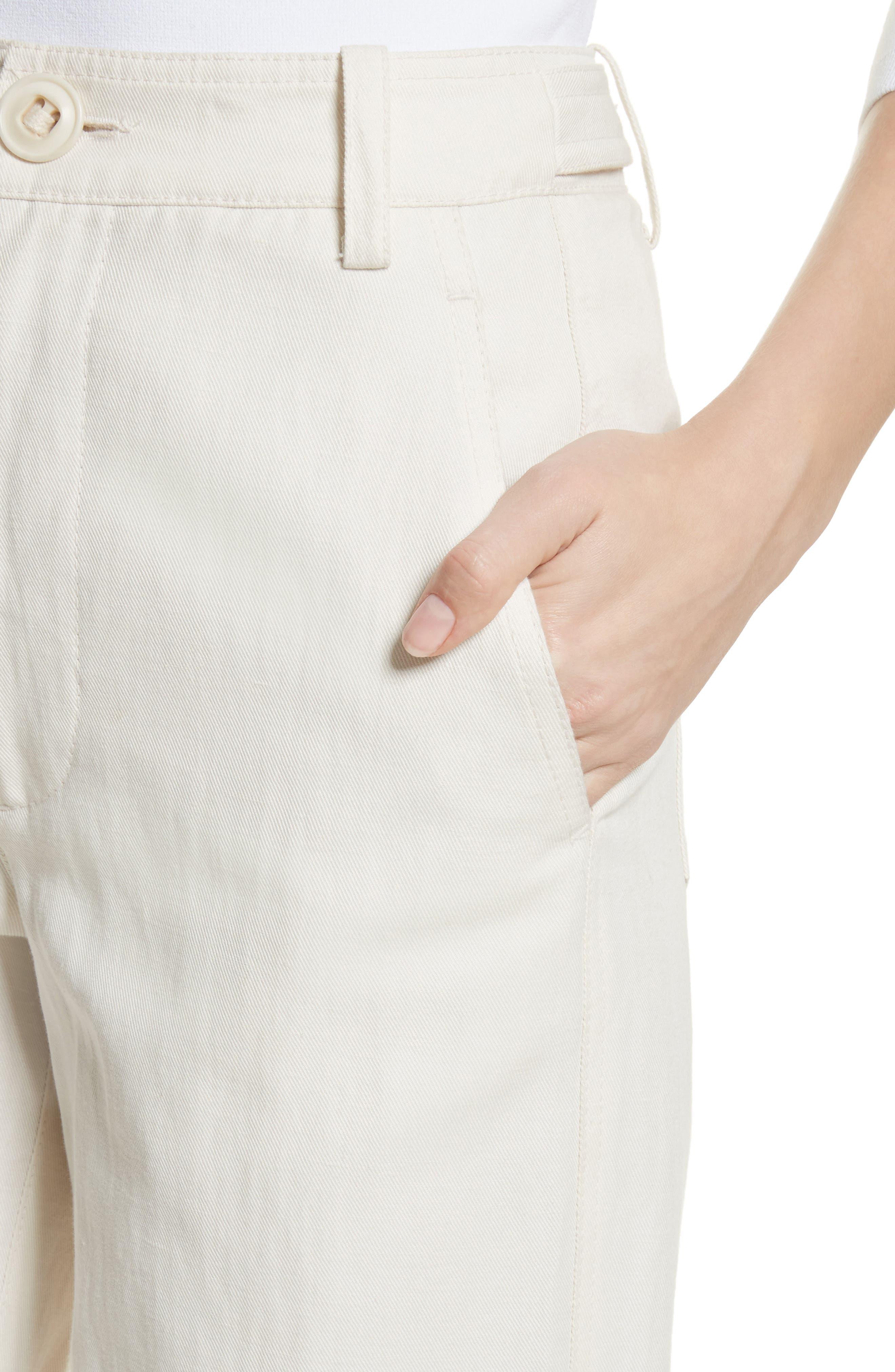 High Rise Linen Blend Wide Leg Pants,                             Alternate thumbnail 5, color,                             Gardenia