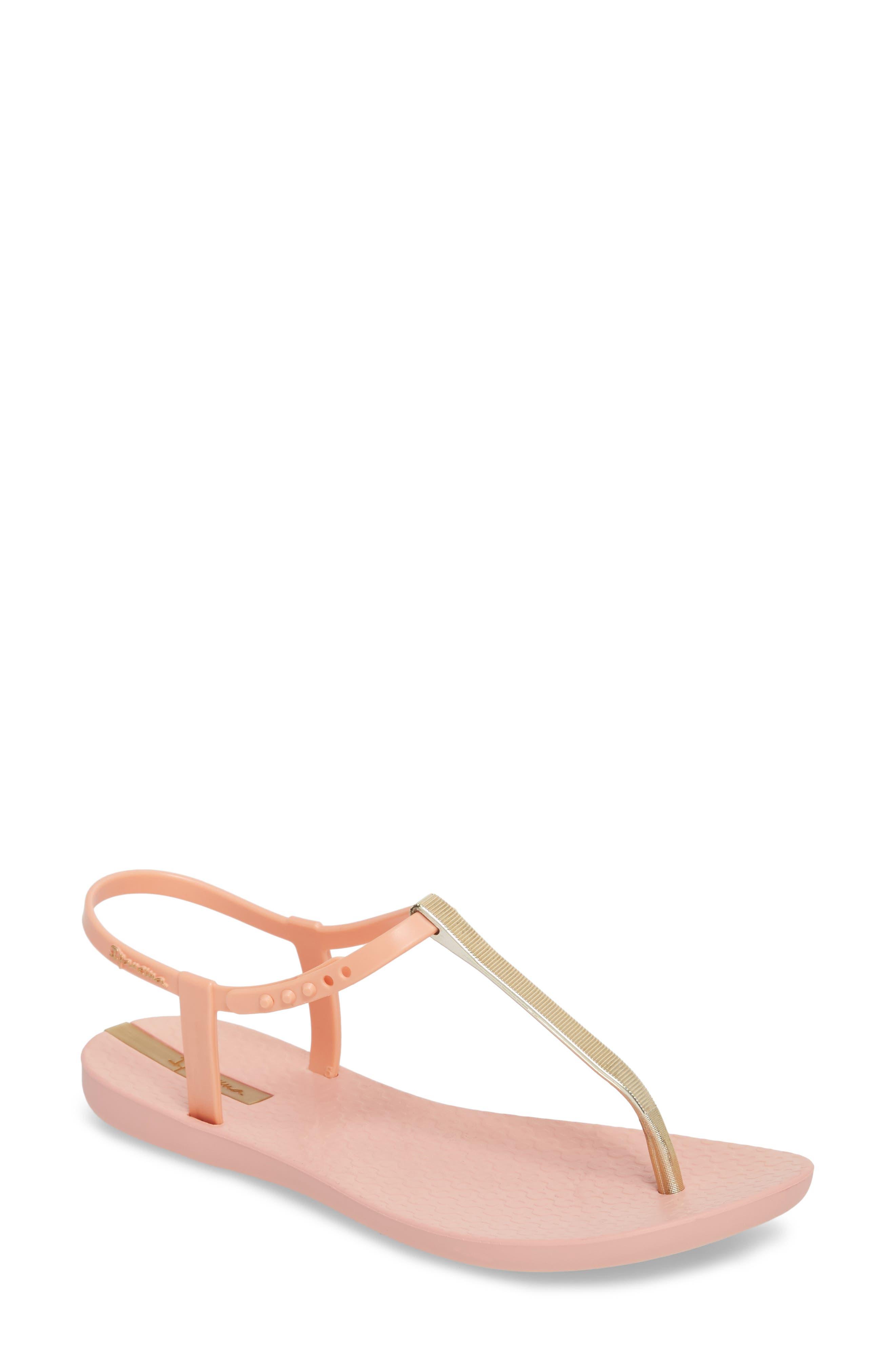 Bandeau Sandal,                             Main thumbnail 1, color,                             Pink/ Gold