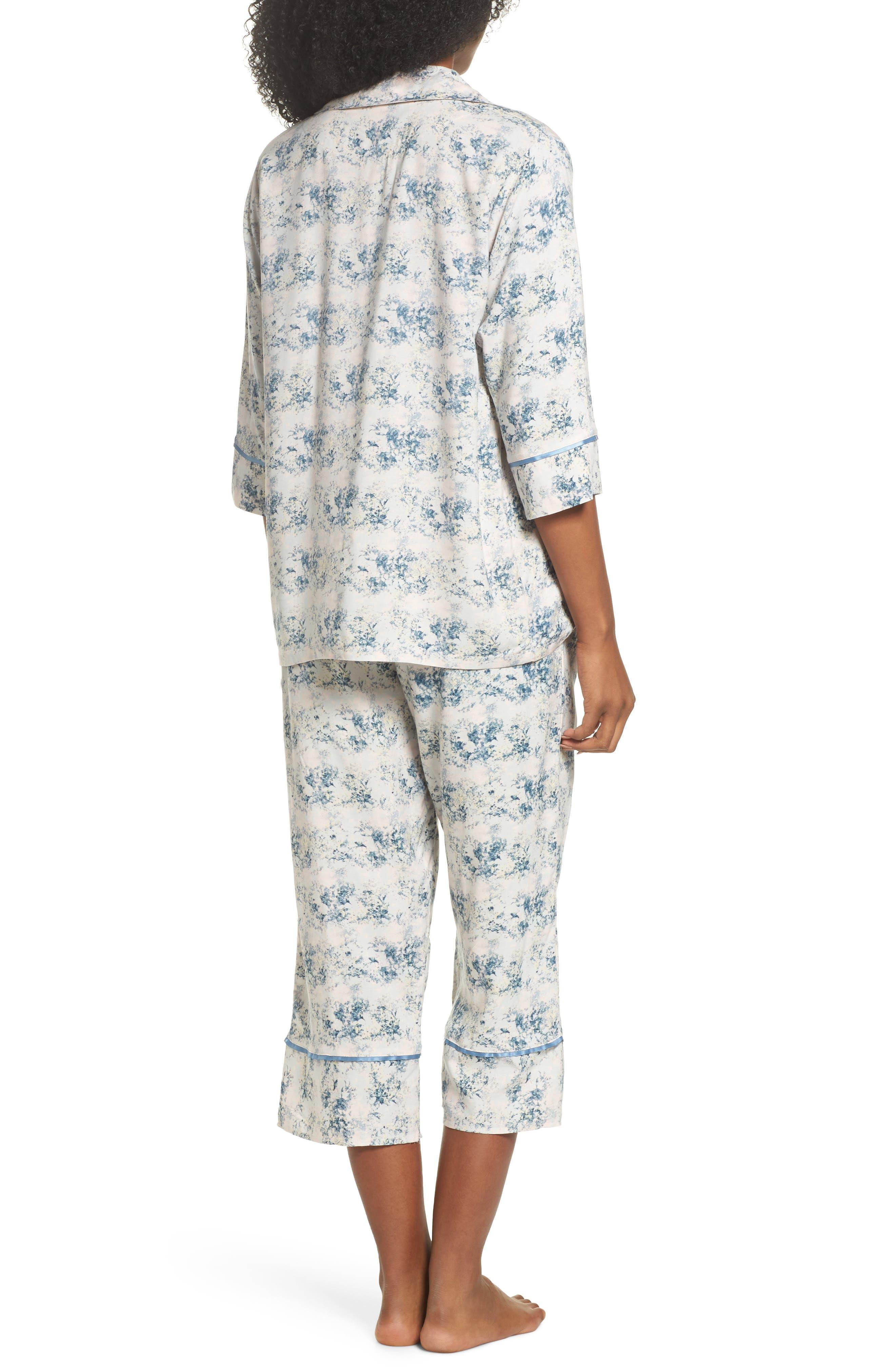 Floral Print Crop Pajamas,                             Alternate thumbnail 2, color,                             Blue