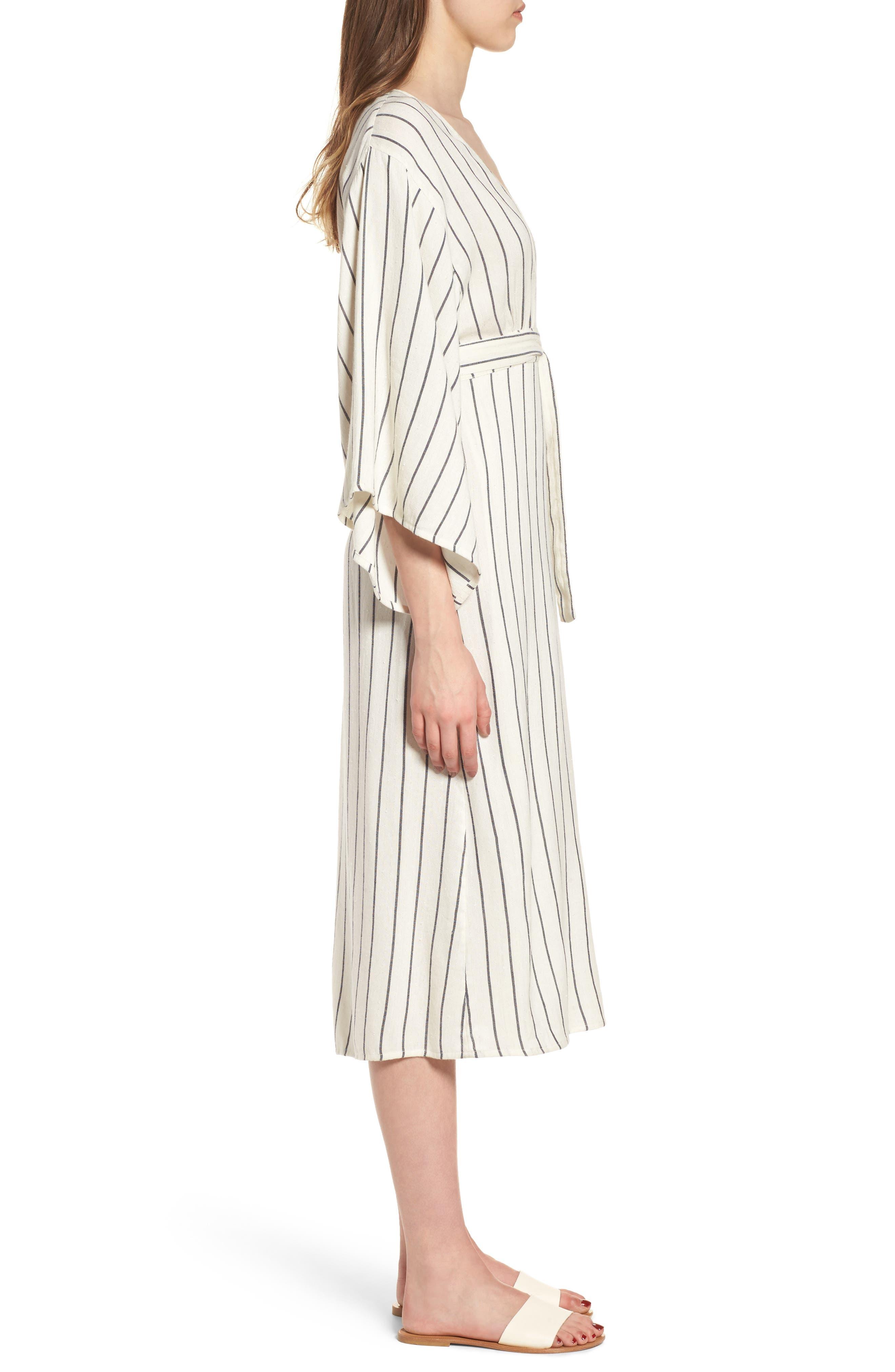 Robe Life Striped Midi Dress,                             Alternate thumbnail 3, color,                             Cool Wip