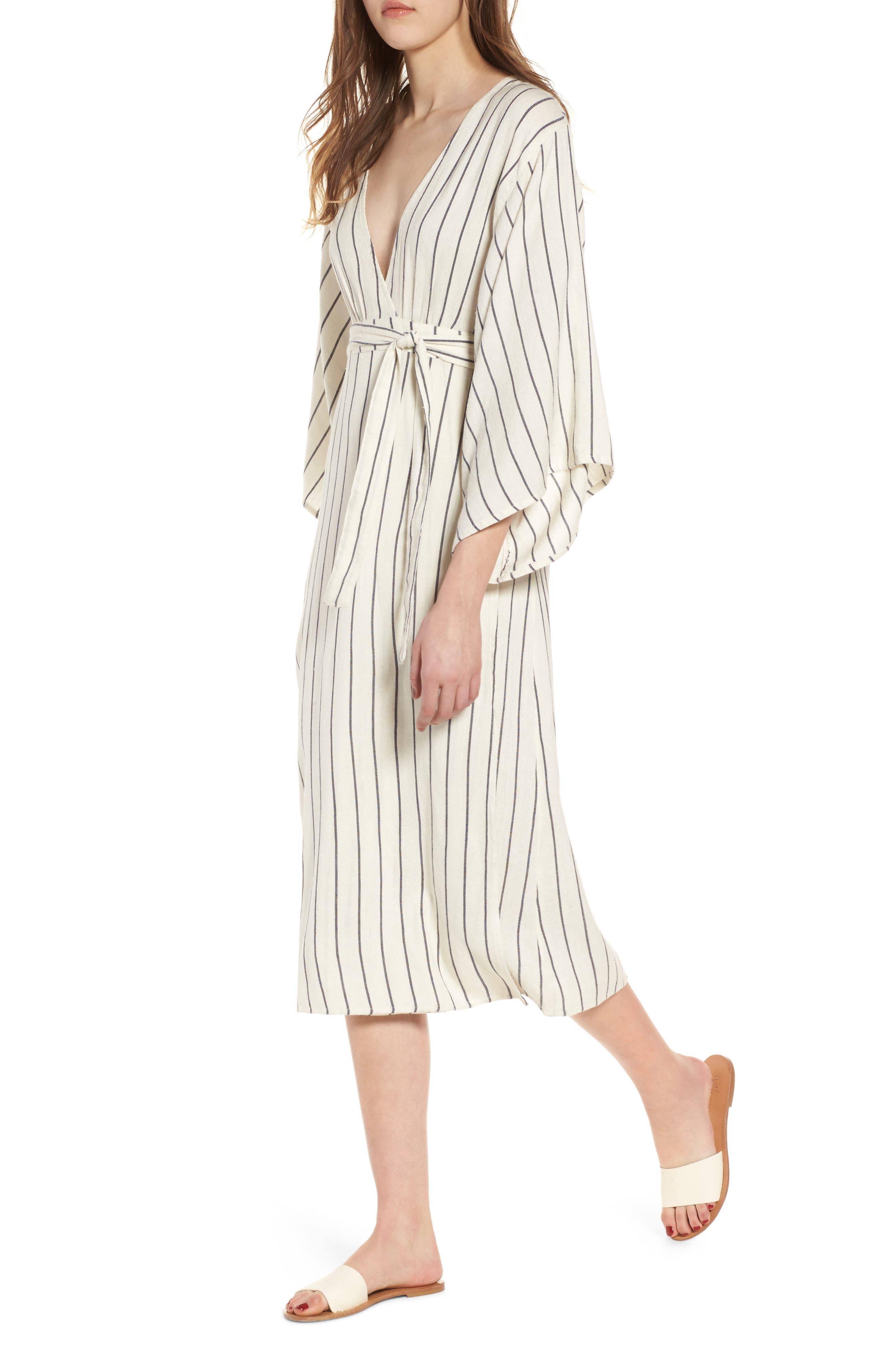 Robe Life Striped Midi Dress,                             Main thumbnail 1, color,                             Cool Wip