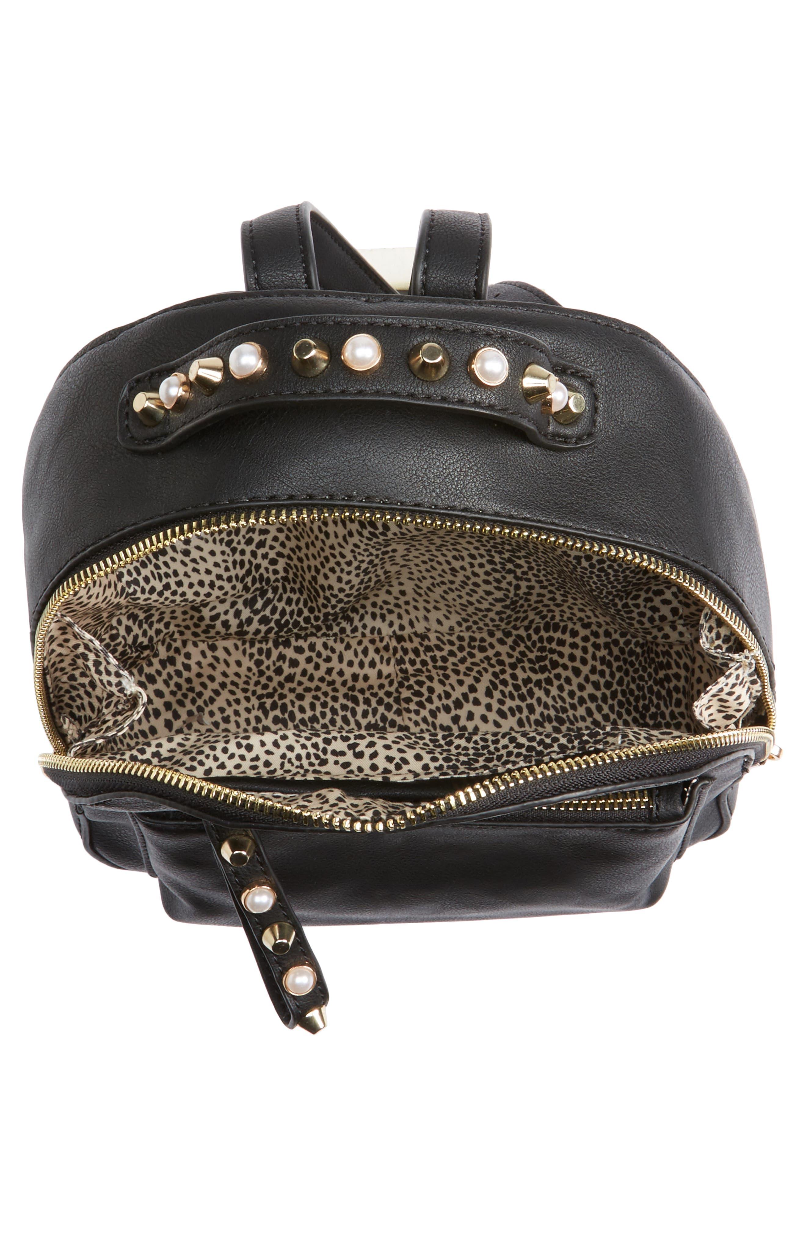 Embellished Faux Leather Backpack,                             Alternate thumbnail 3, color,                             Black