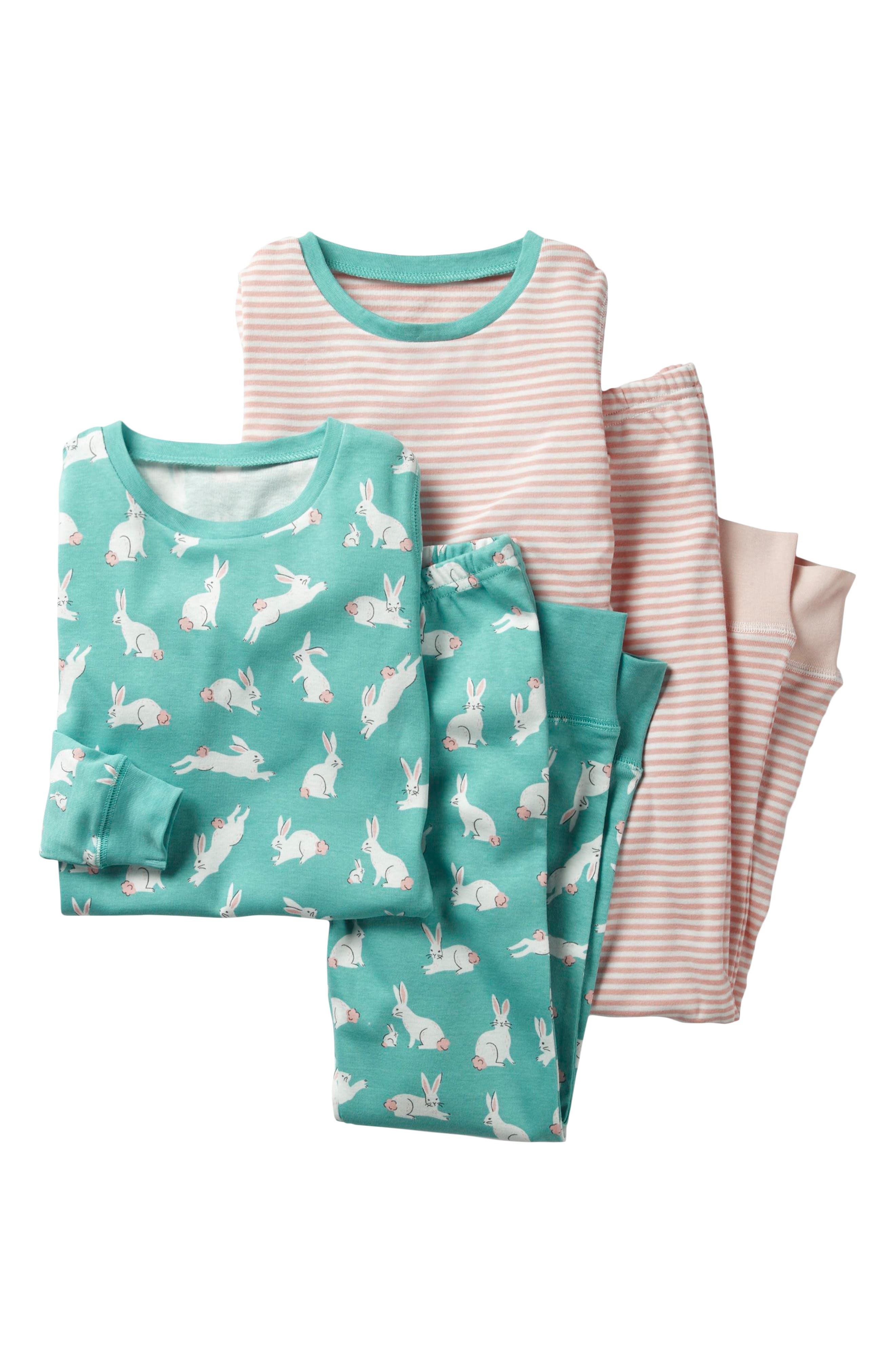 Two-Pack Fitted Two-Piece Pajamas,                         Main,                         color, Green Bunnies/ Provence Pink