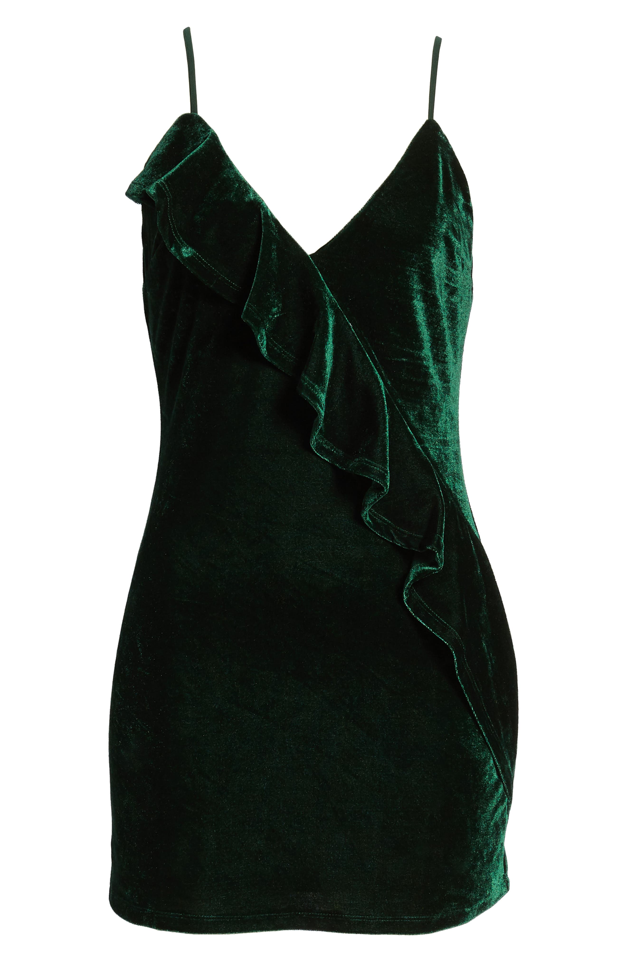 Ella Velvet Minidress,                             Alternate thumbnail 6, color,                             Green