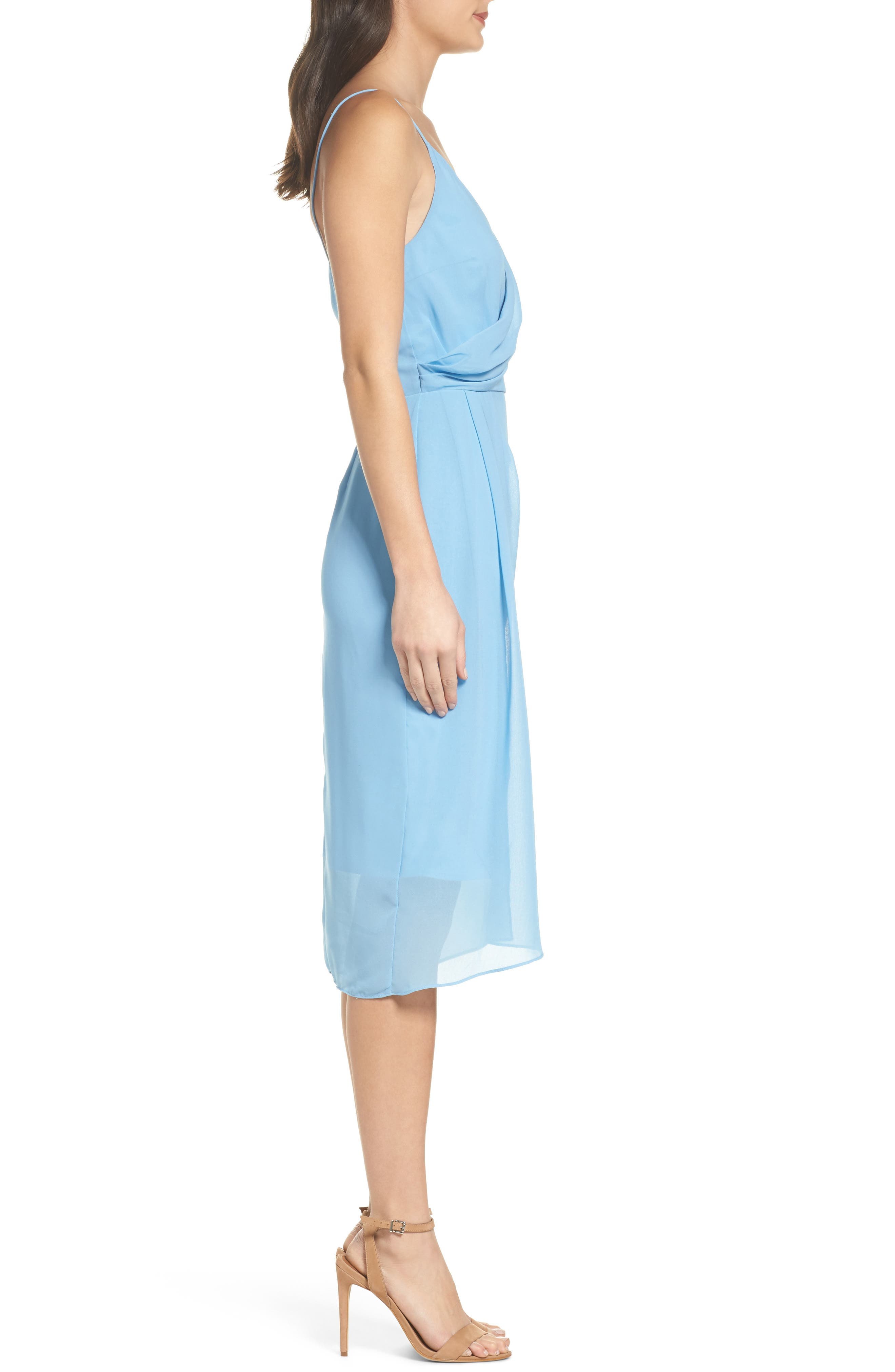 Ember Glow Drape Dress,                             Alternate thumbnail 3, color,                             Dusk Blue