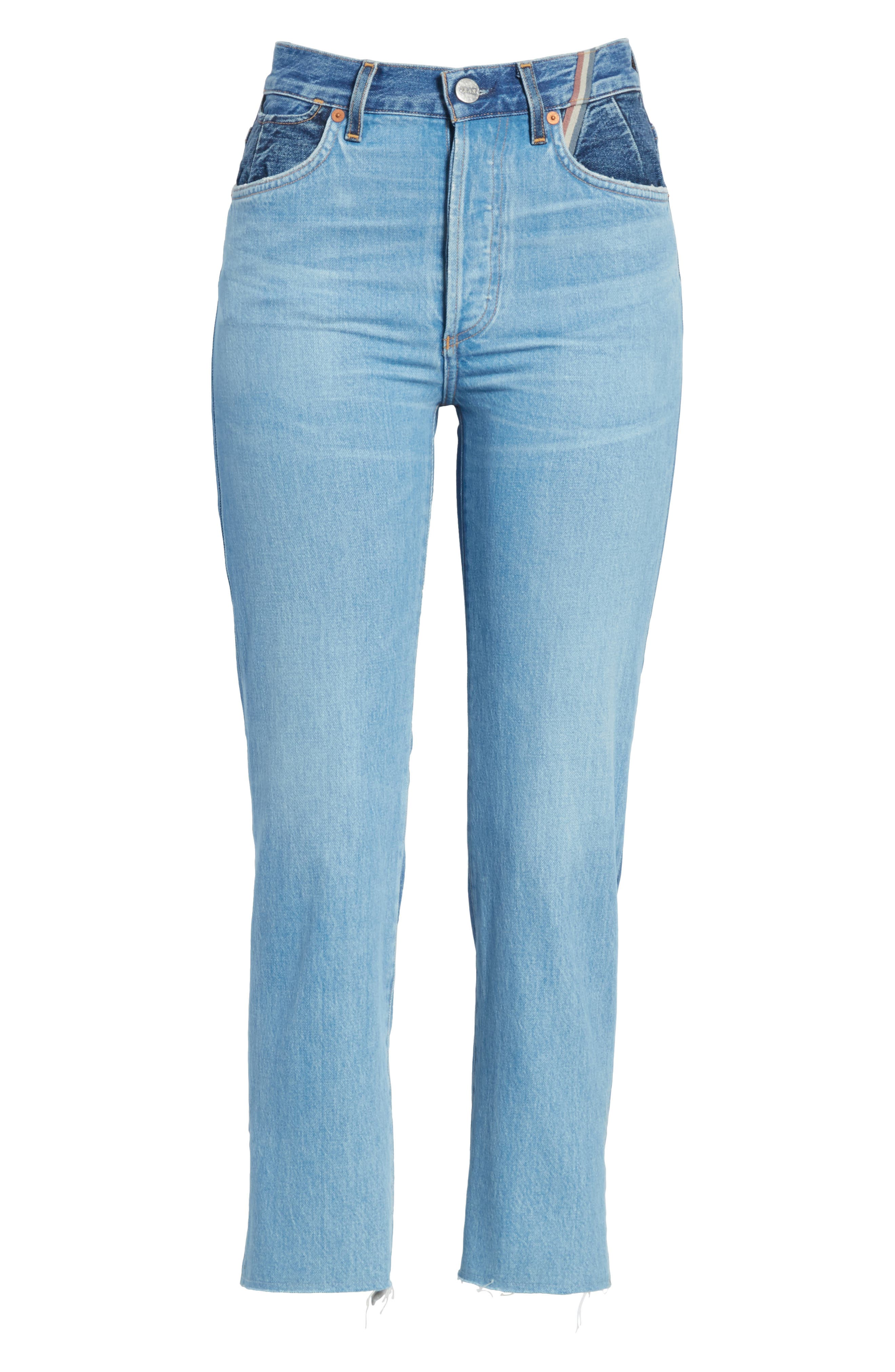 Hunter High Rise Straight Leg Crop Jeans,                             Alternate thumbnail 7, color,                             Jagger