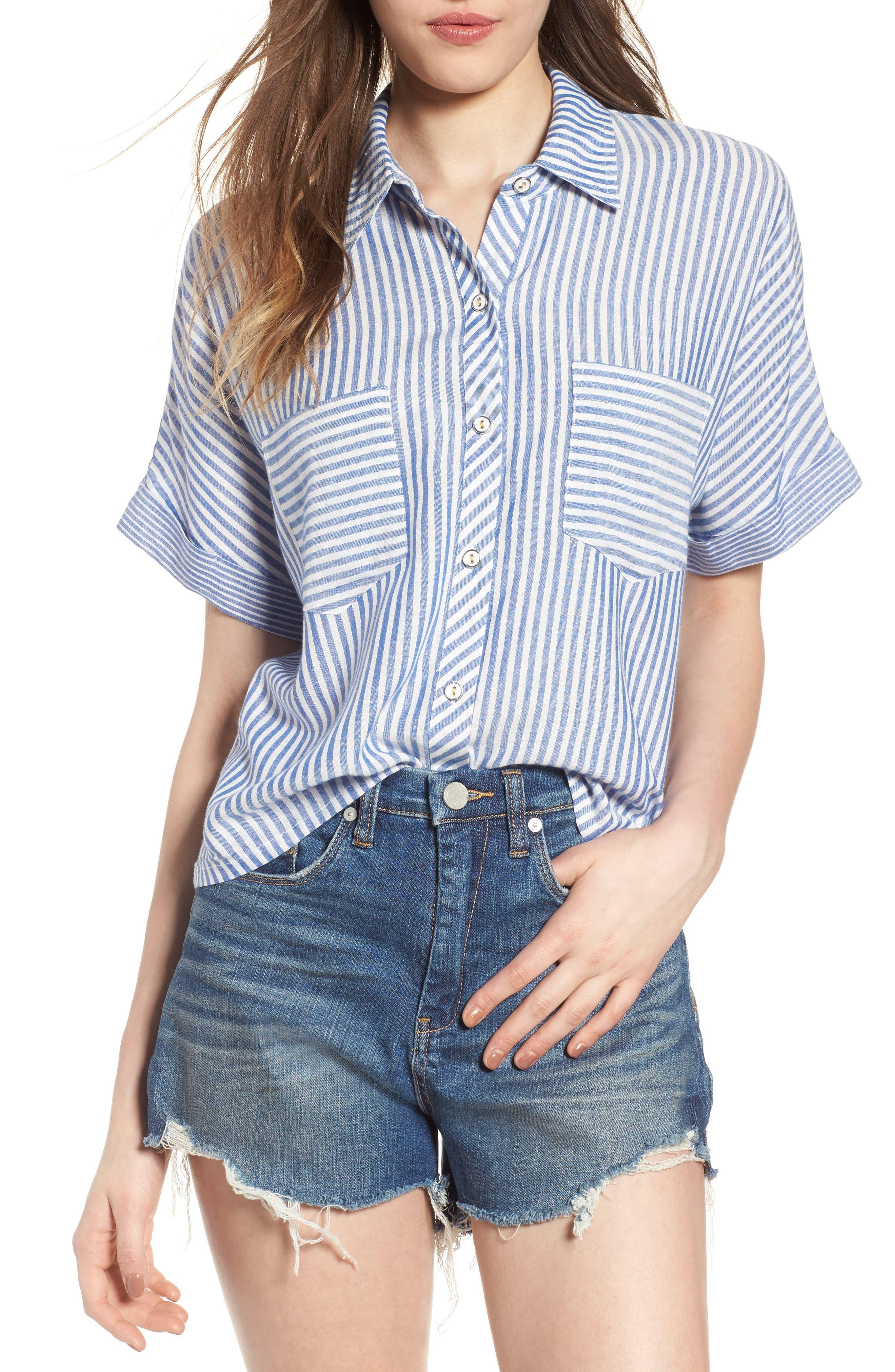 Stripe Top,                         Main,                         color, Denim/ White