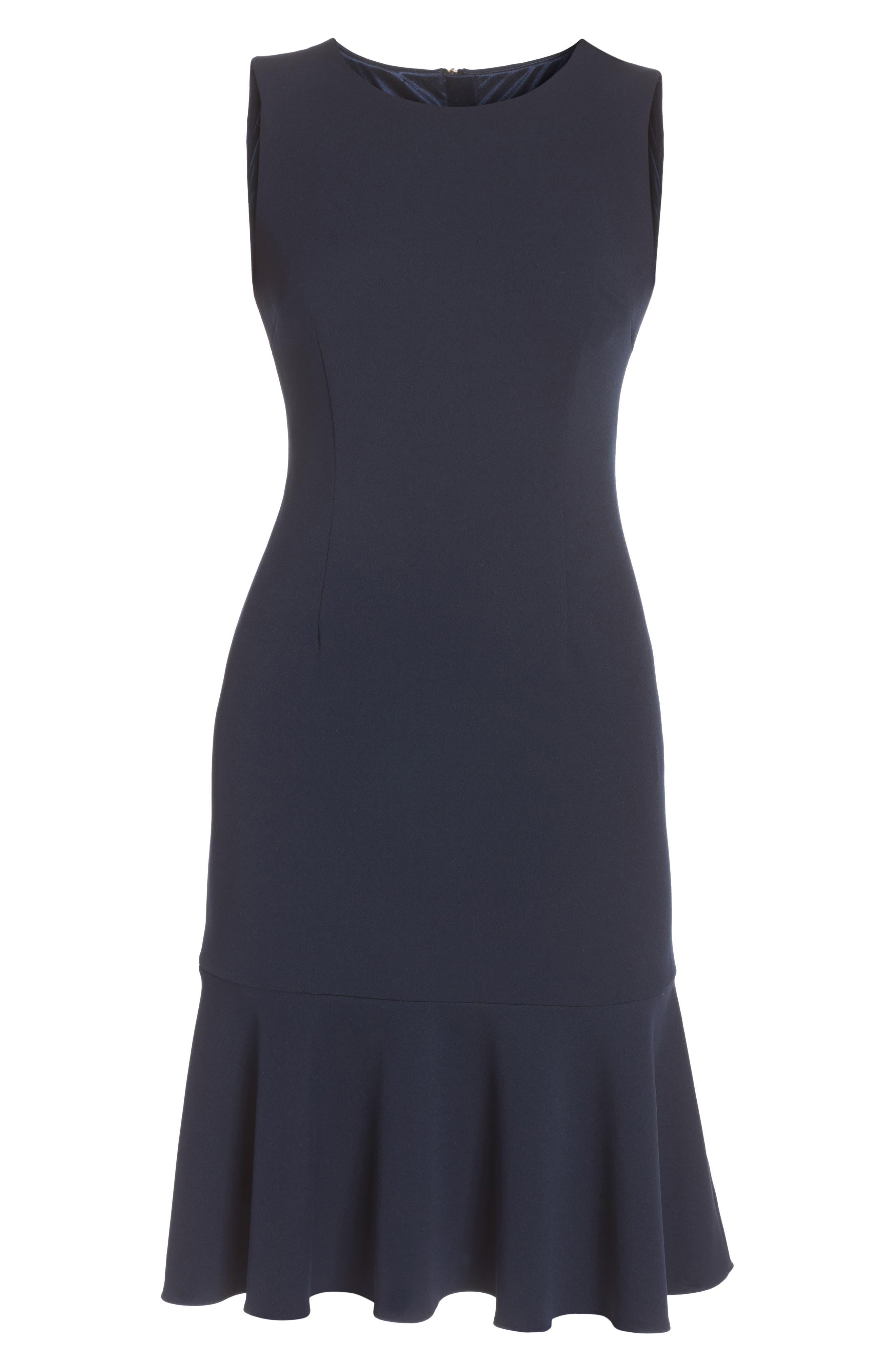 Knit Crepe Sheath Dress,                             Alternate thumbnail 6, color,                             Blue Moon