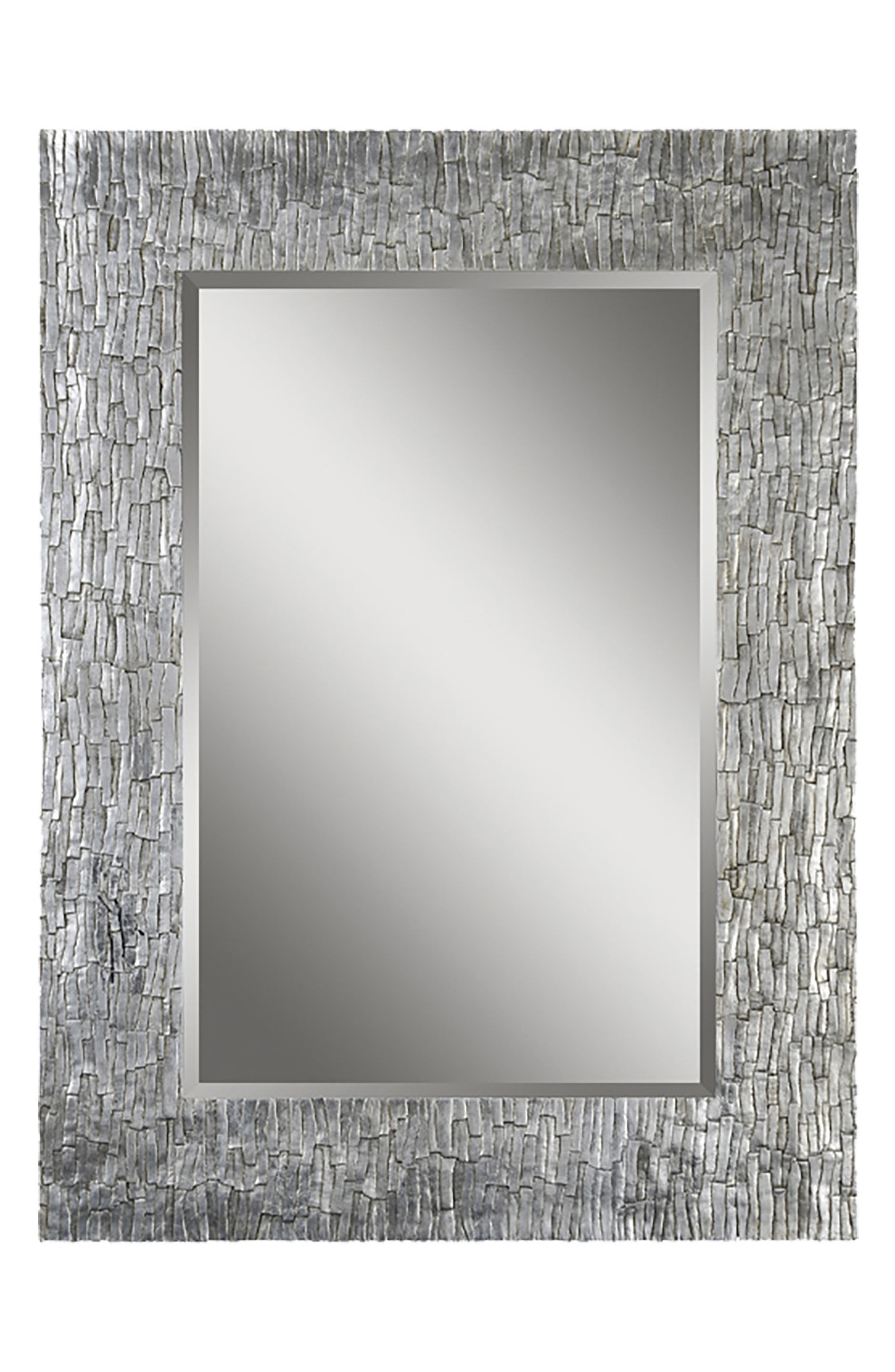 Santa Fe Mirror,                             Main thumbnail 1, color,                             Silver Leaf/ Bark Texture