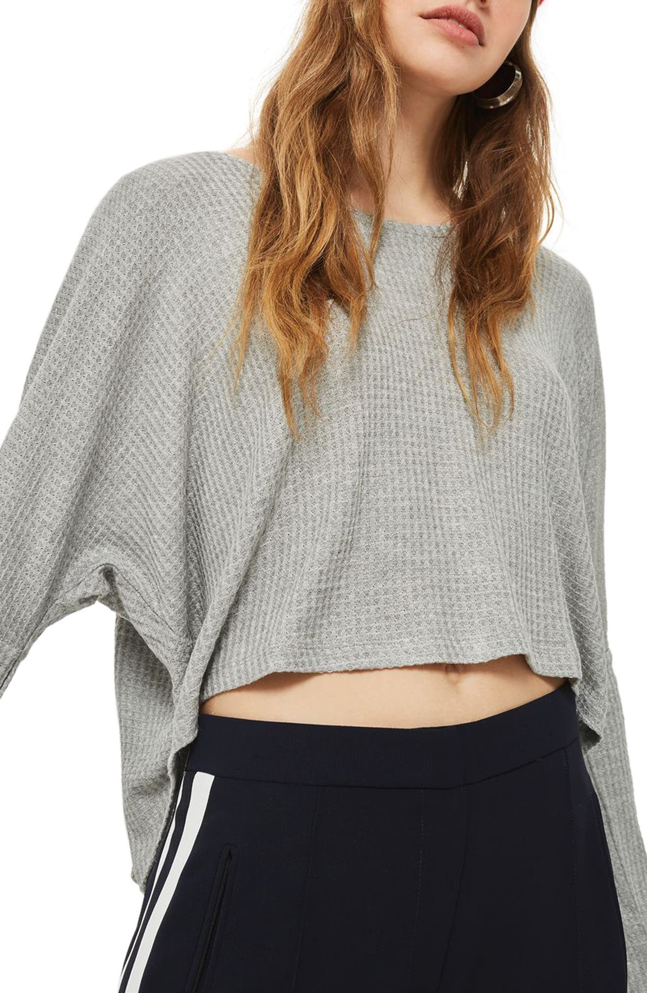 Waffle Knit Sweatshirt,                         Main,                         color, Grey Marl