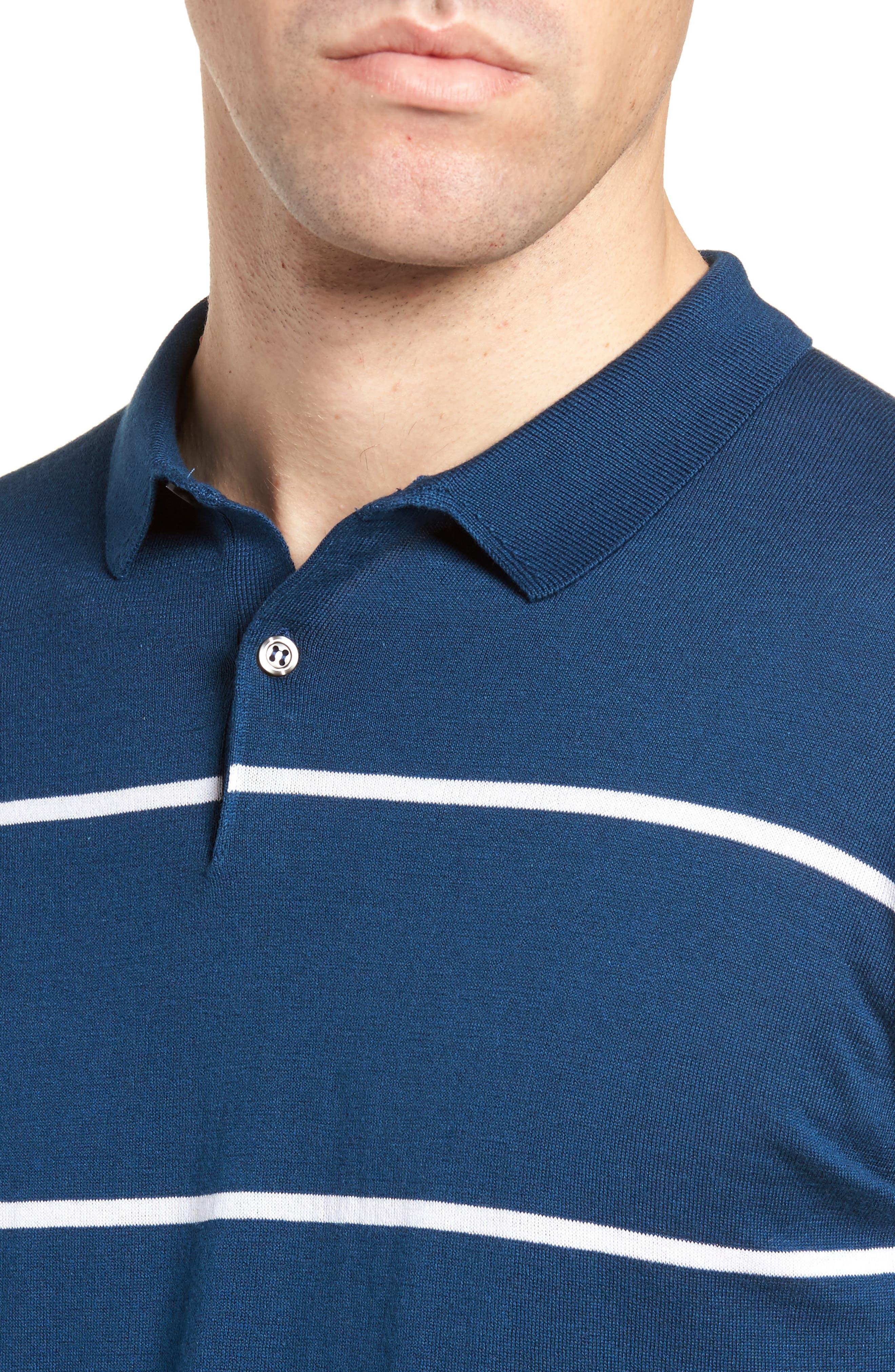 Alternate Image 4  - John Smedley Stripe Jersey Polo