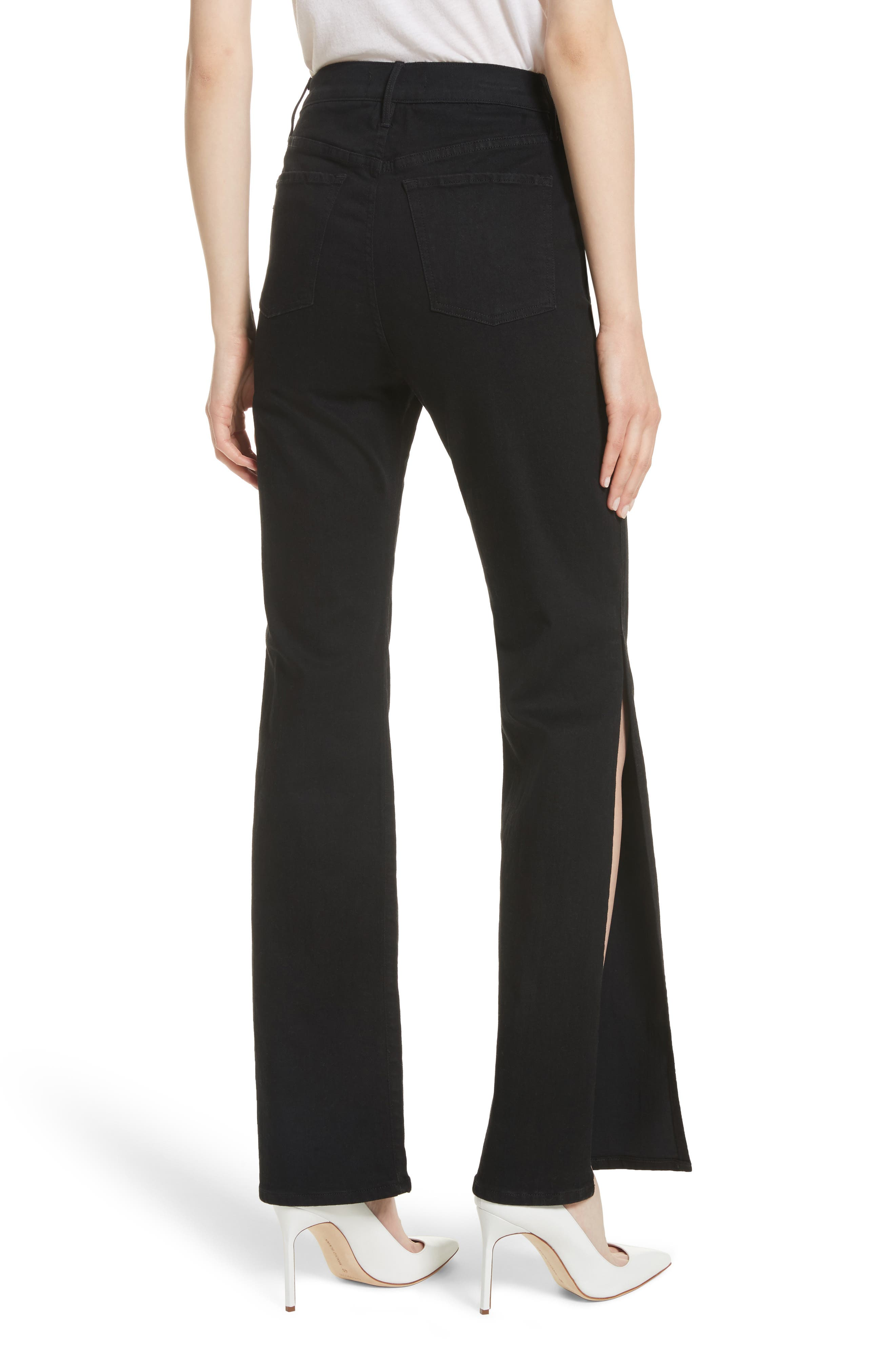 W4 Adeline High Waist Split Flare Jeans,                             Alternate thumbnail 2, color,                             Black No 1