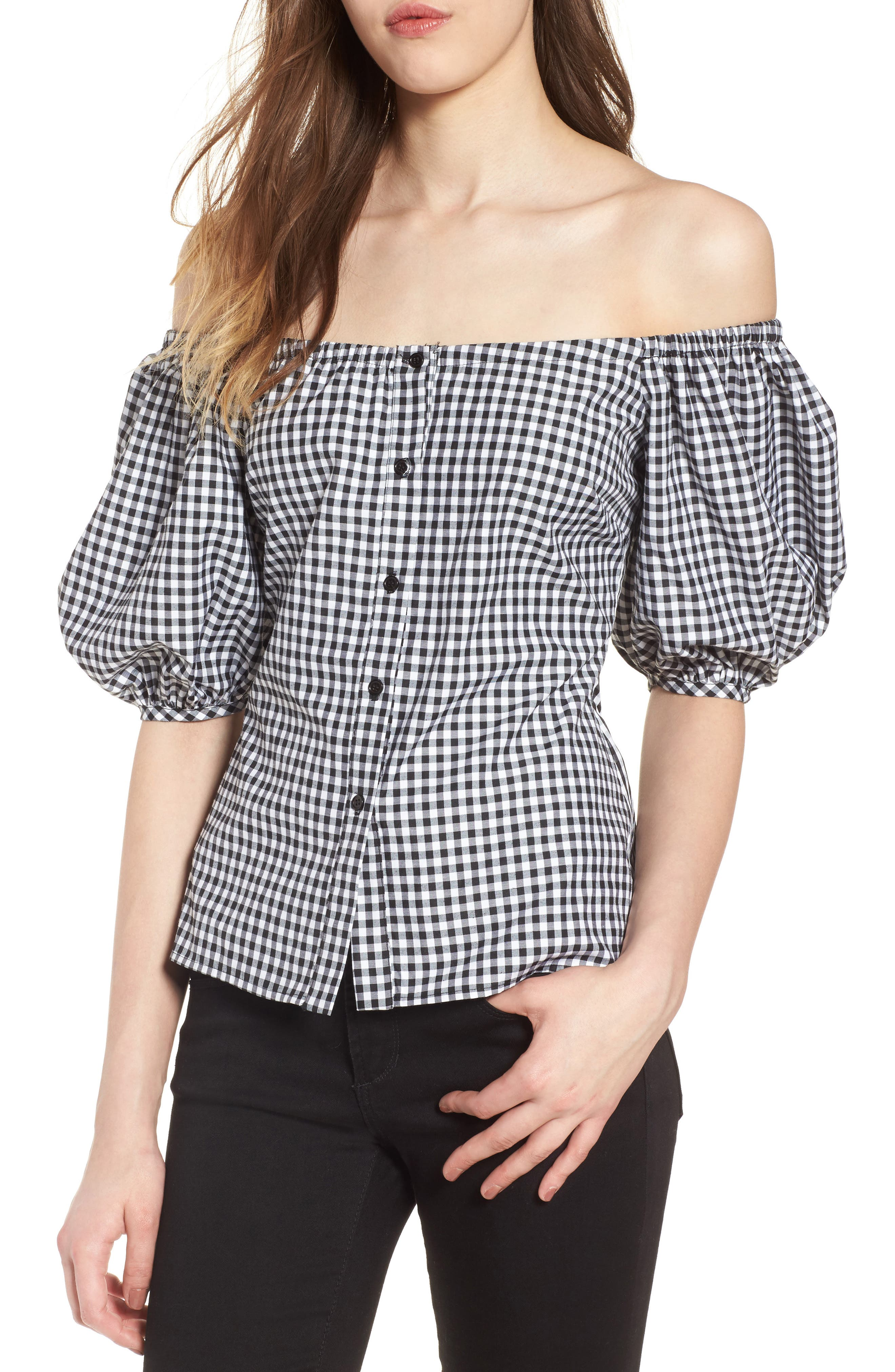 Buffalo Check Off the Shoulder Blouse,                         Main,                         color, Black White Gingham