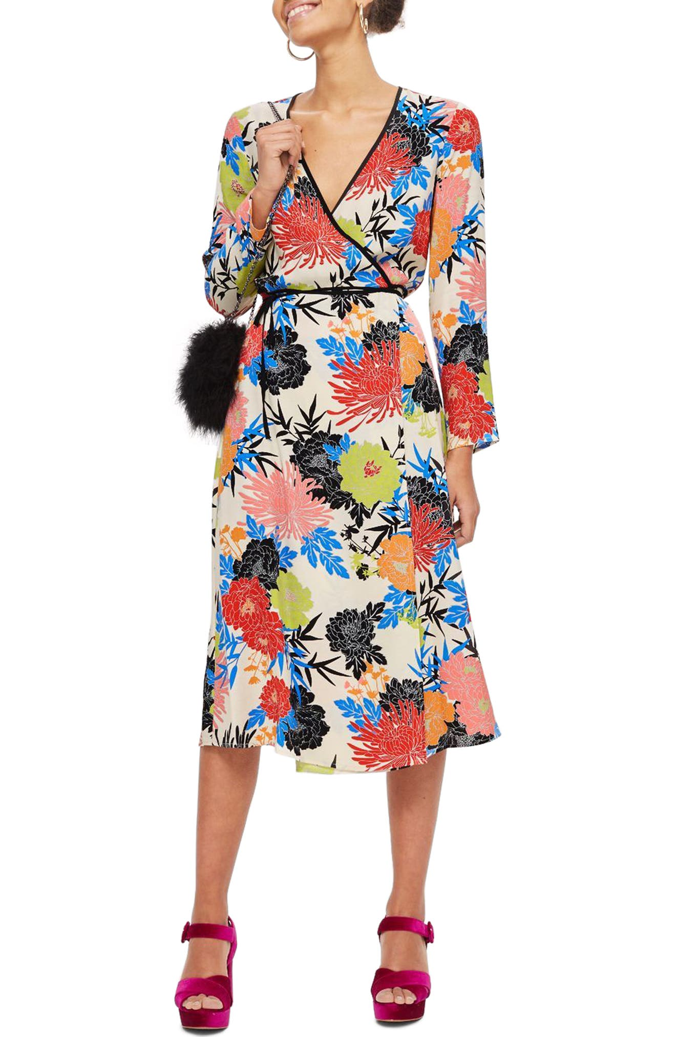 Freya Floral Wrap Dress,                             Main thumbnail 1, color,                             Ivory Multi