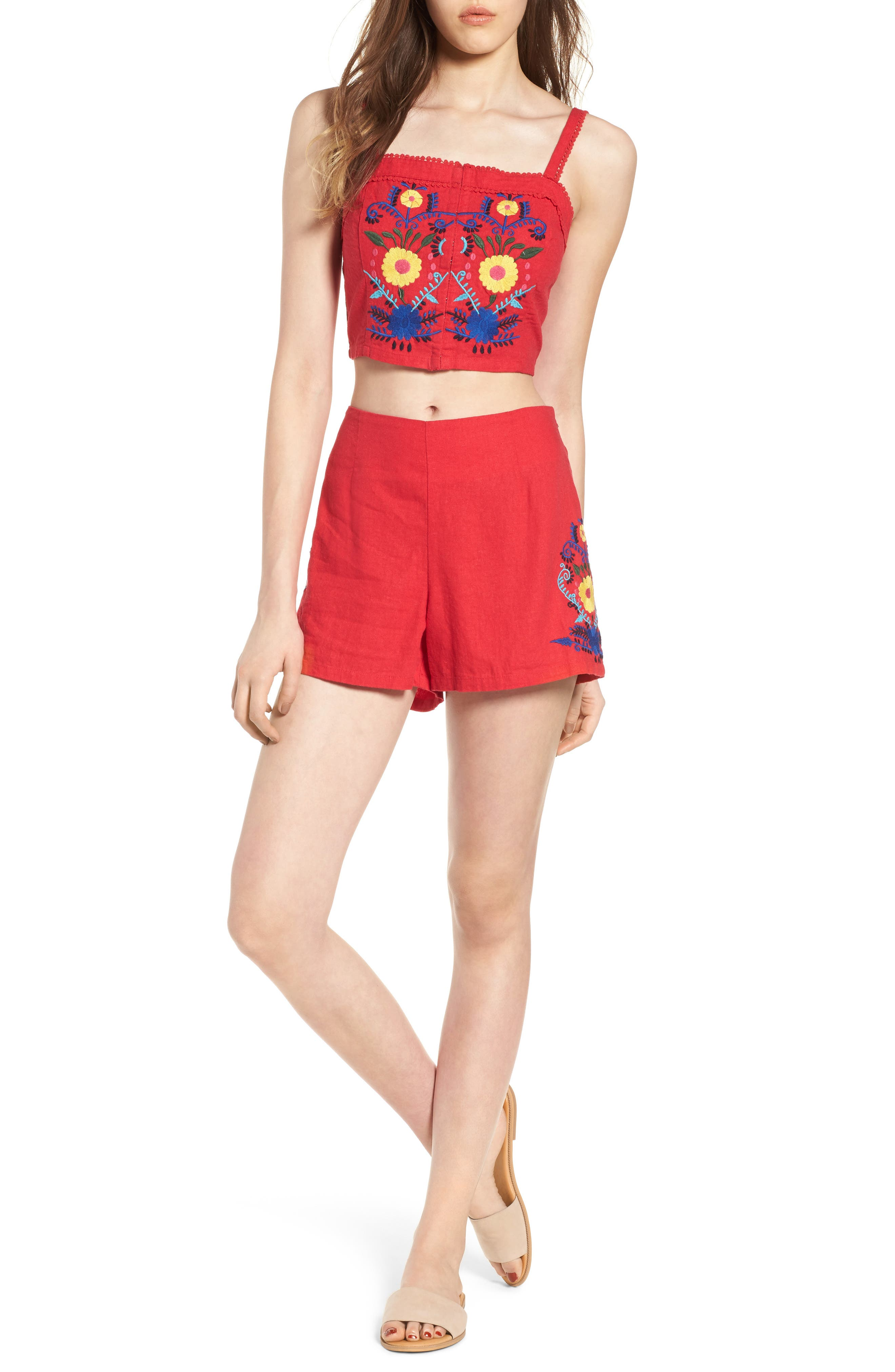 Embroidered Linen Blend Shorts,                             Alternate thumbnail 2, color,                             Red Lipstick
