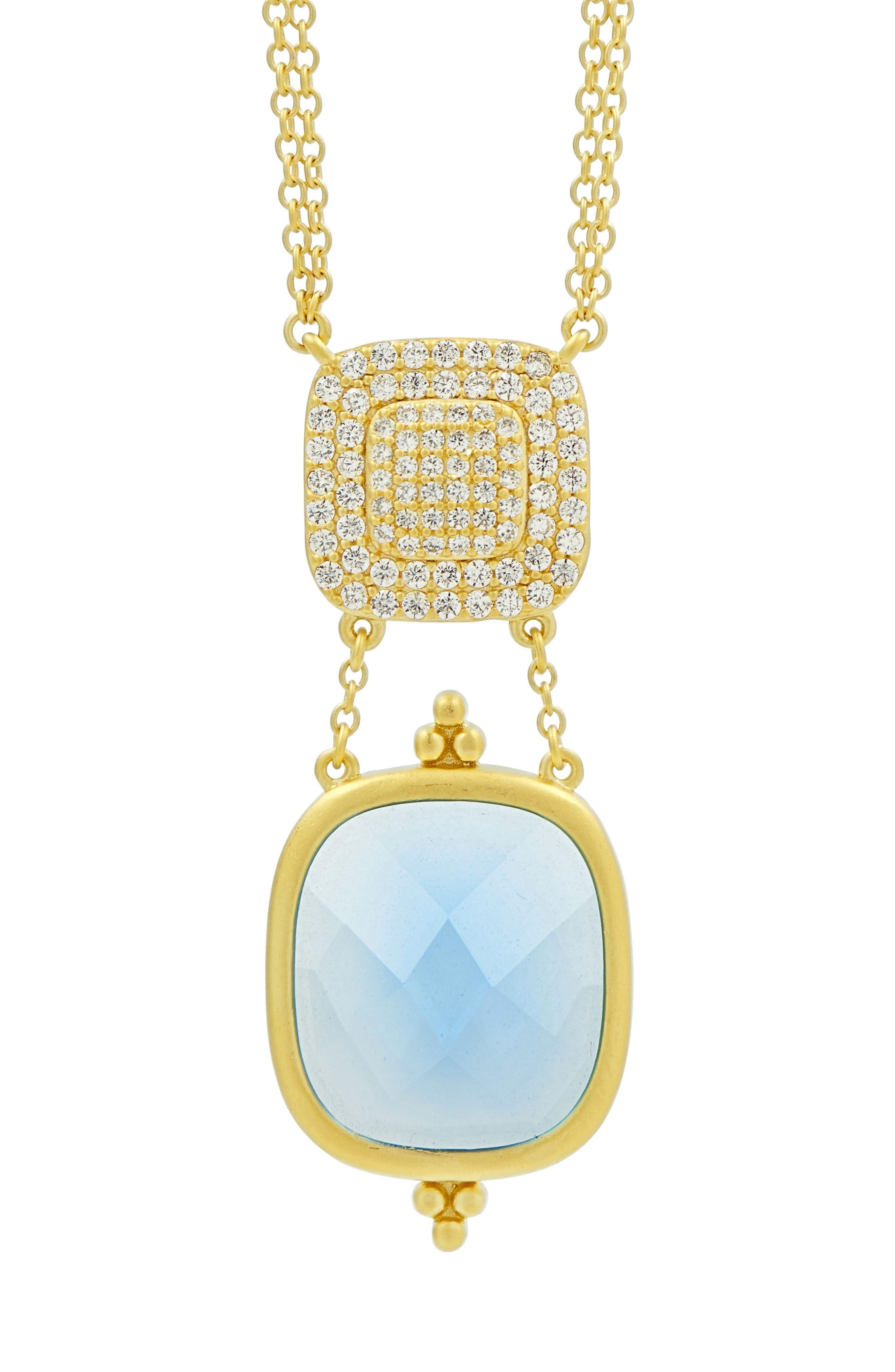 Ocean Azure Double Drop Pendant Necklace,                             Alternate thumbnail 3, color,                             Gold/ Aqua
