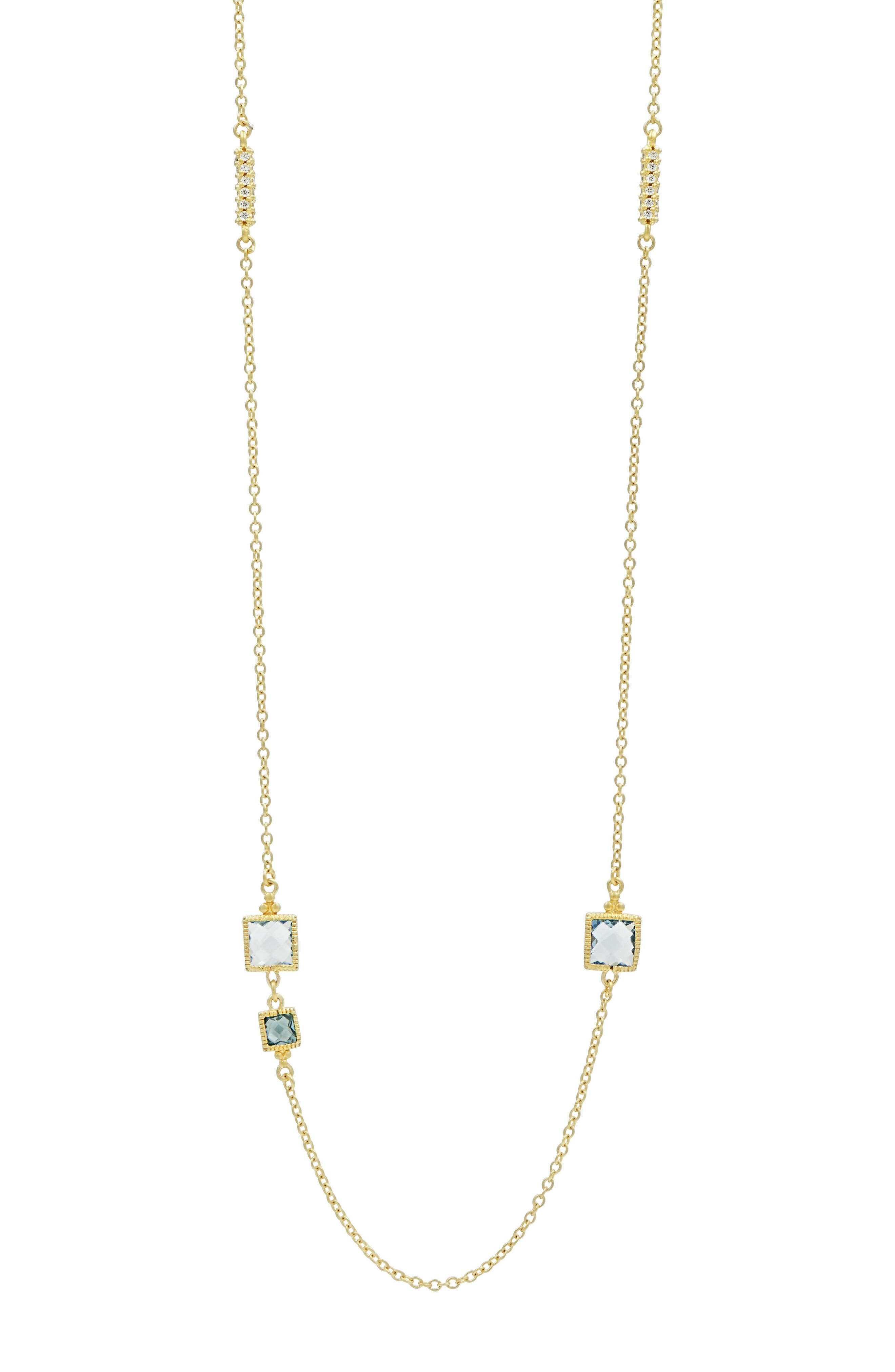 Ocean Azure Station Necklace,                             Alternate thumbnail 2, color,                             Gold/ Aqua