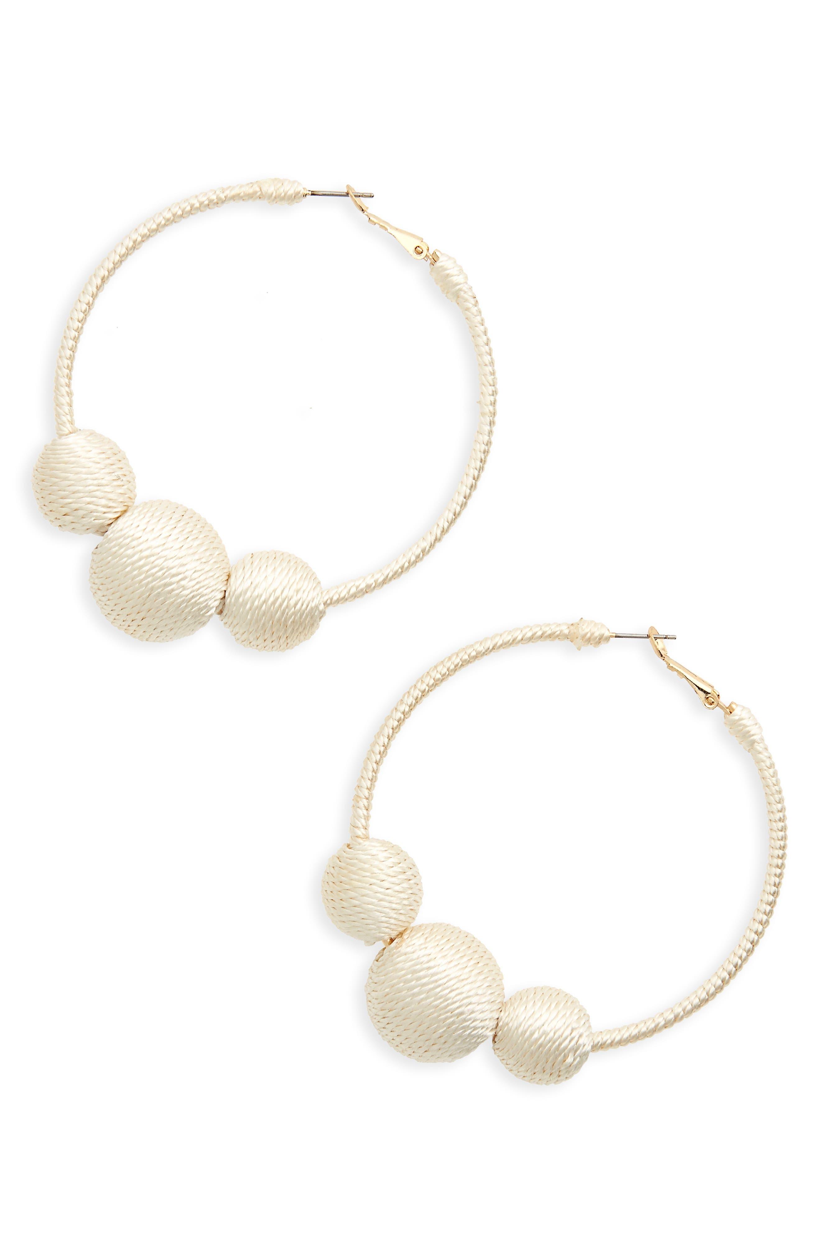 Main Image - BP. Wrapped Ball Hoop Earrings