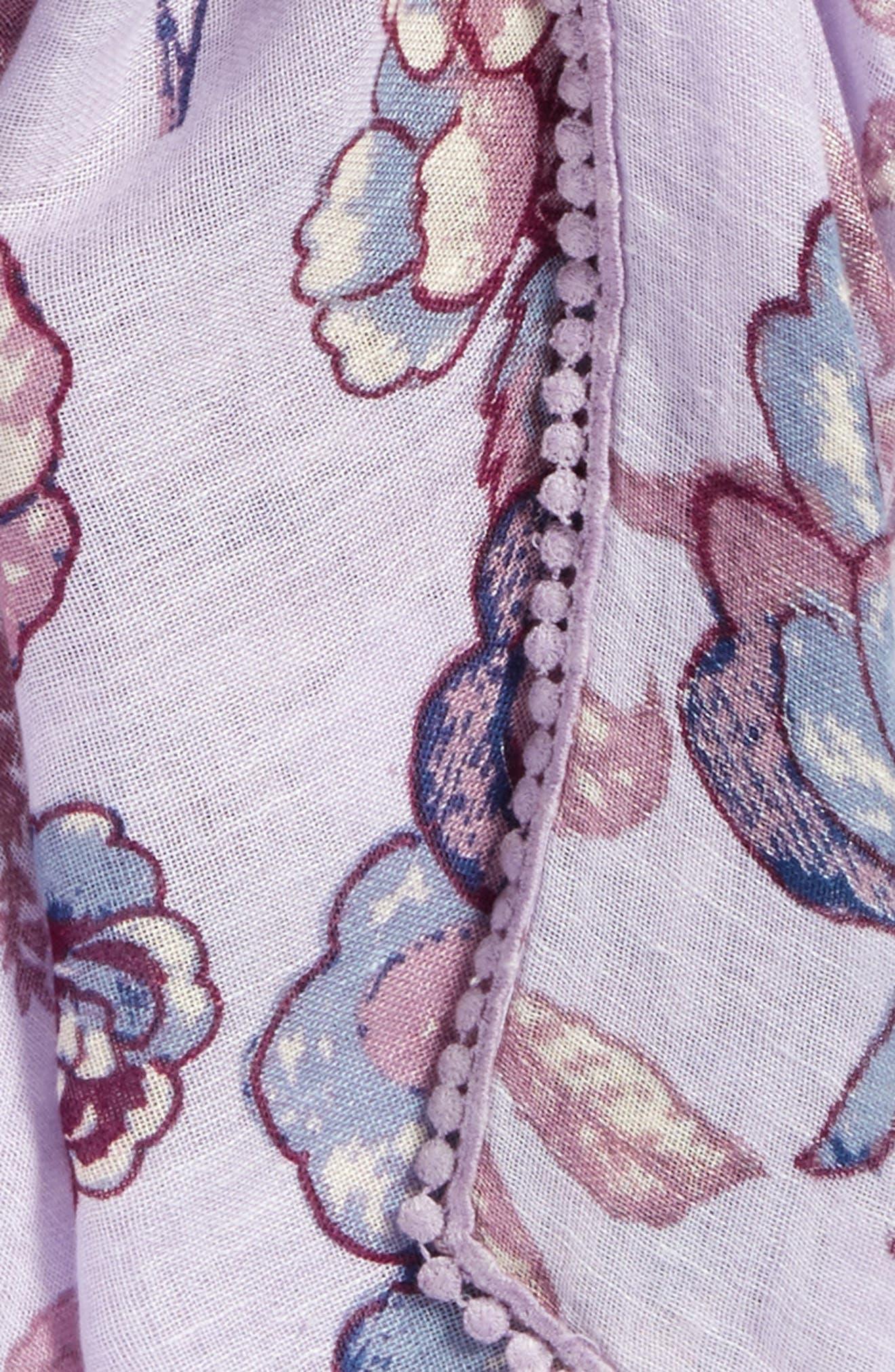 Print Scarf,                             Alternate thumbnail 4, color,                             Purple Lace Work