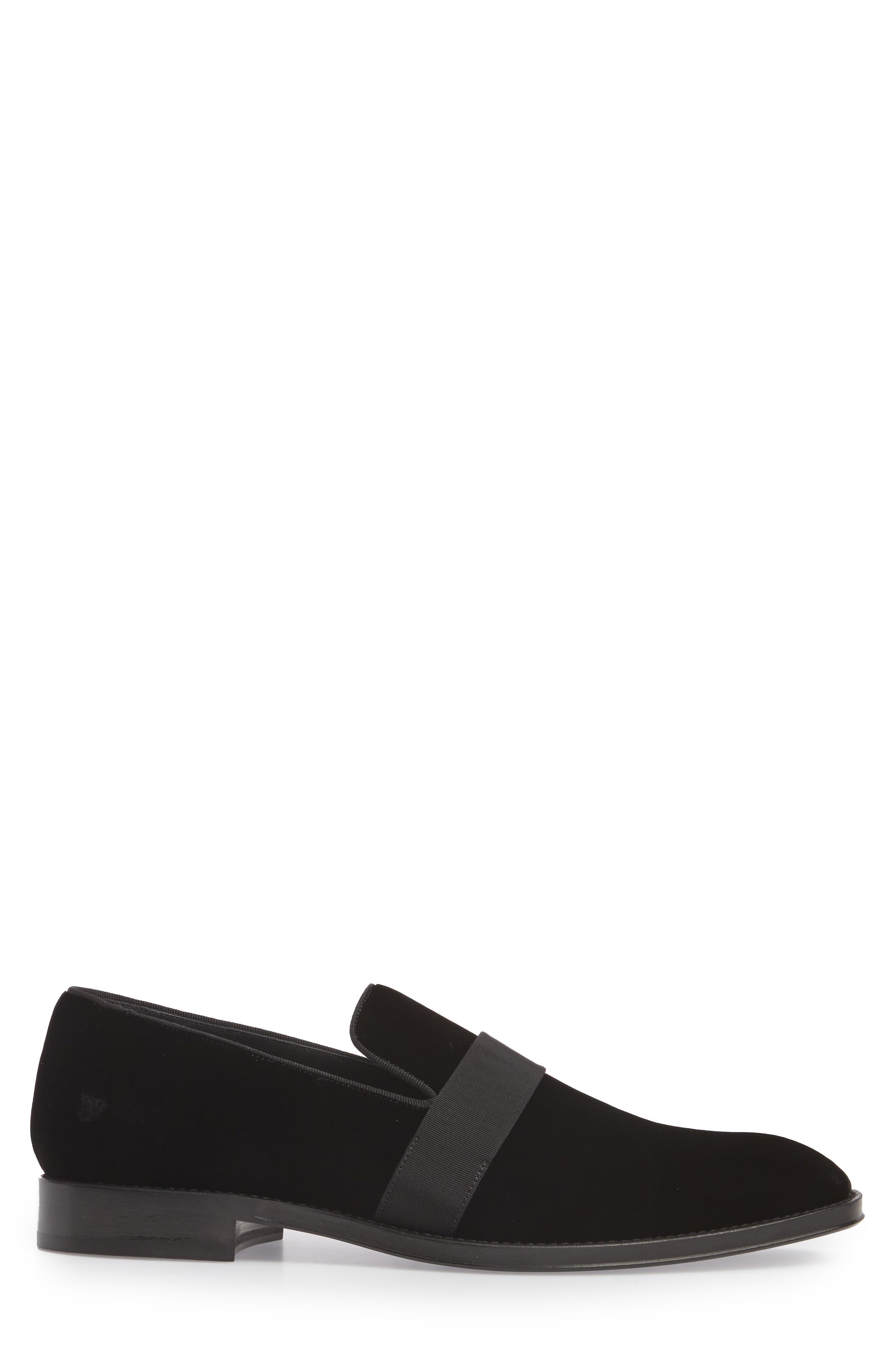 Velvet Loafer,                             Alternate thumbnail 3, color,                             Black