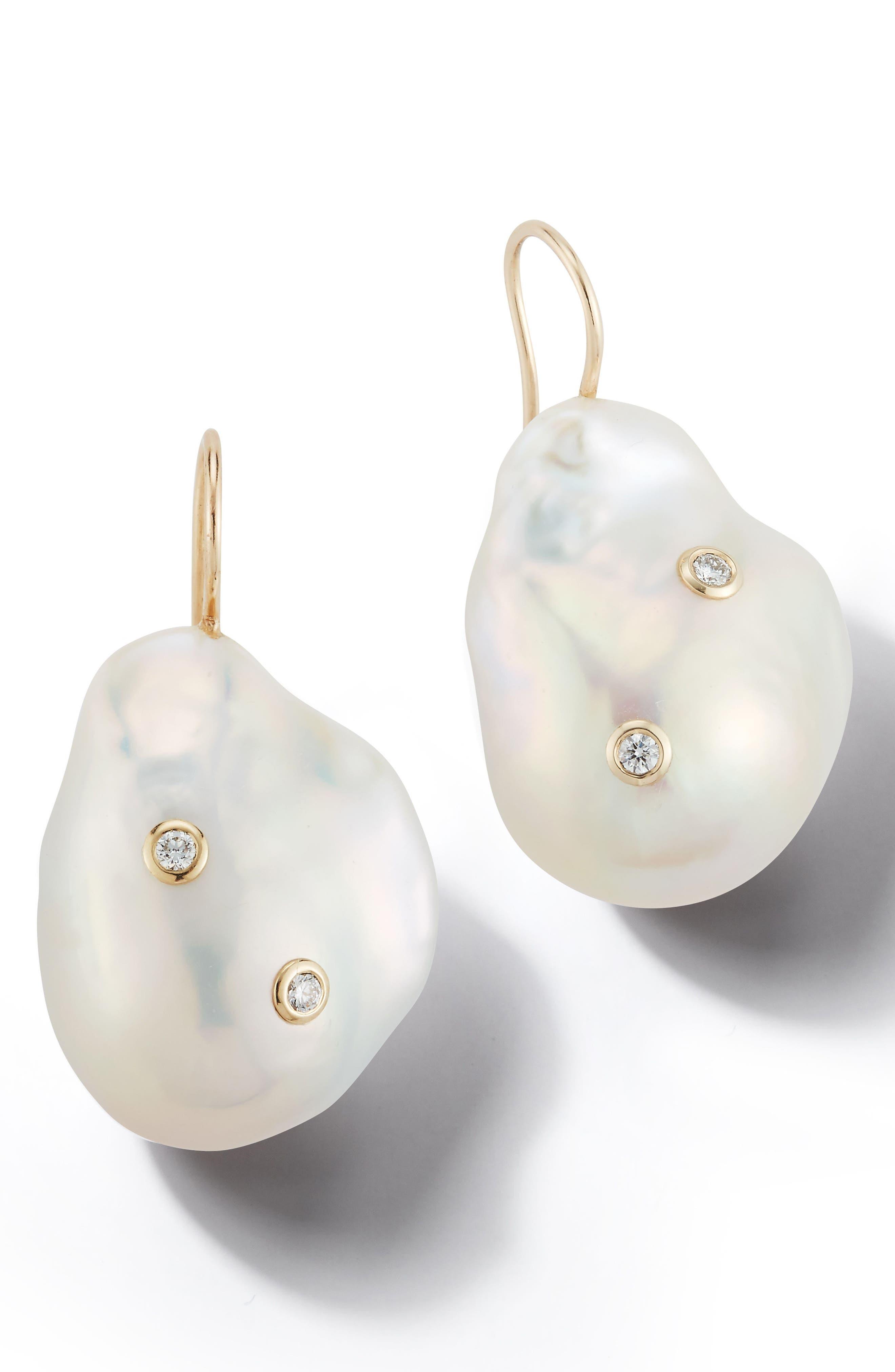 Mizuki Pearl and Diamond Drop Earrings