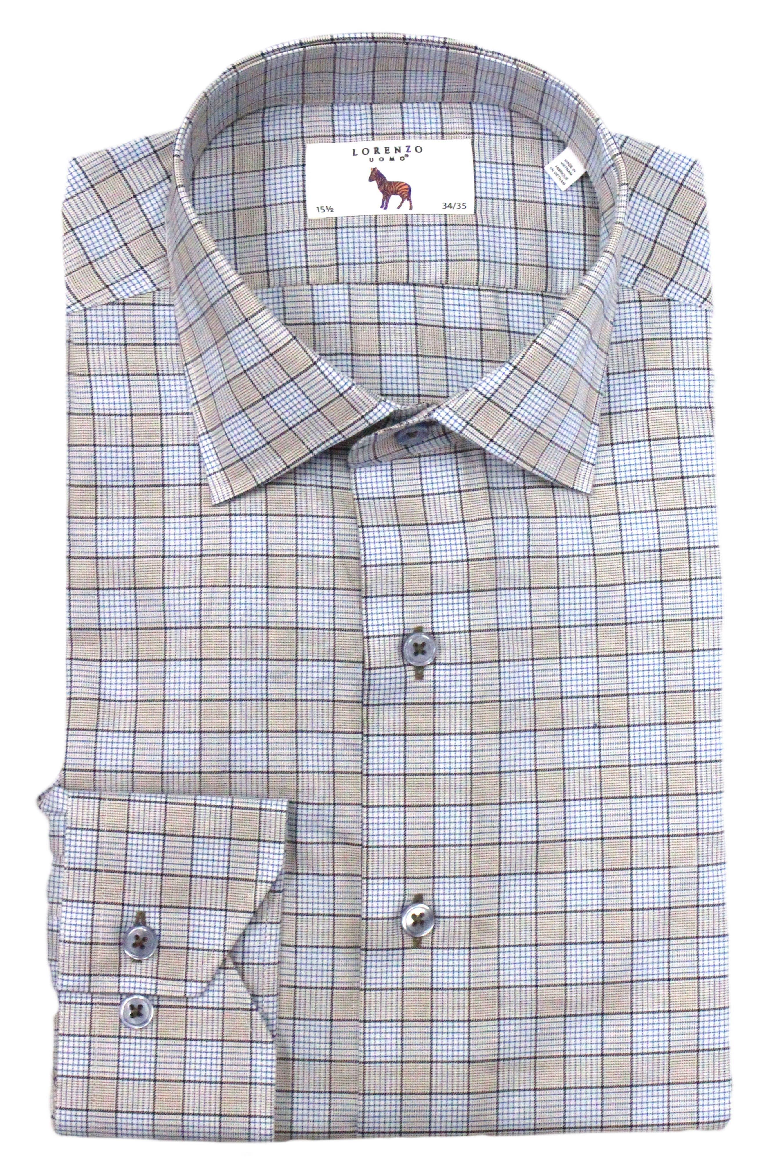 Trim Fit Box Check Dress Shirt,                             Main thumbnail 1, color,                             Tan/ Light Blue