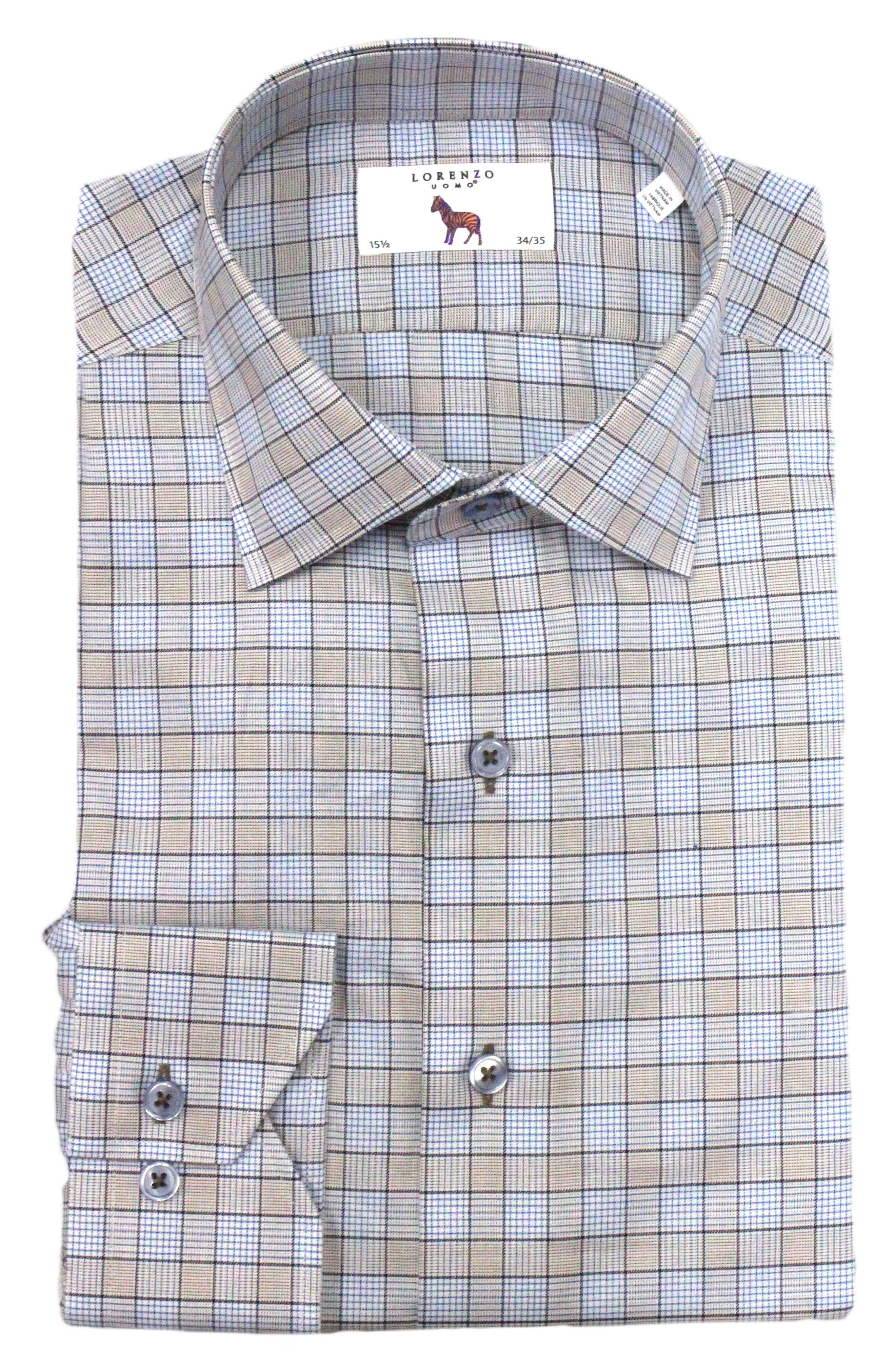 Trim Fit Box Check Dress Shirt,                         Main,                         color, Tan/ Light Blue
