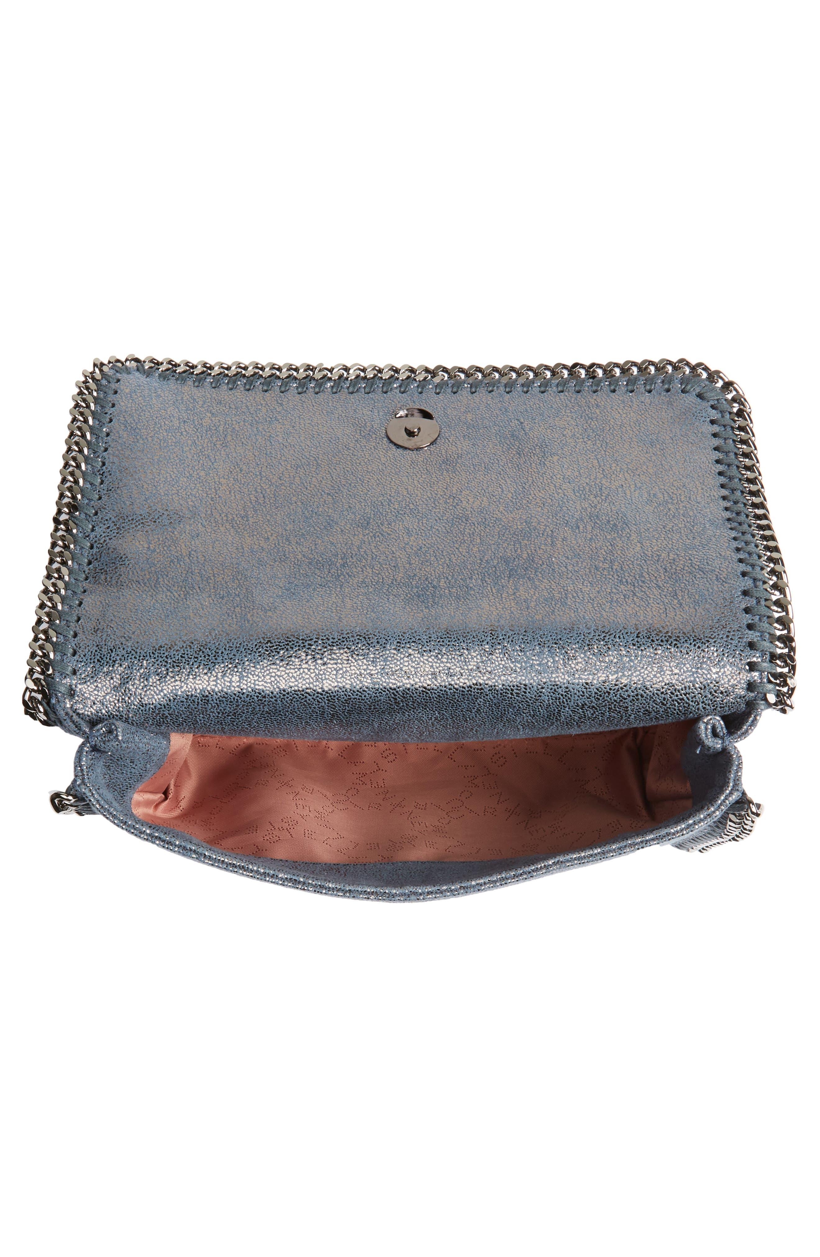 Falabella Metallic Faux Leather Convertible Shoulder Bag,                             Alternate thumbnail 4, color,                             Blue Lagoon