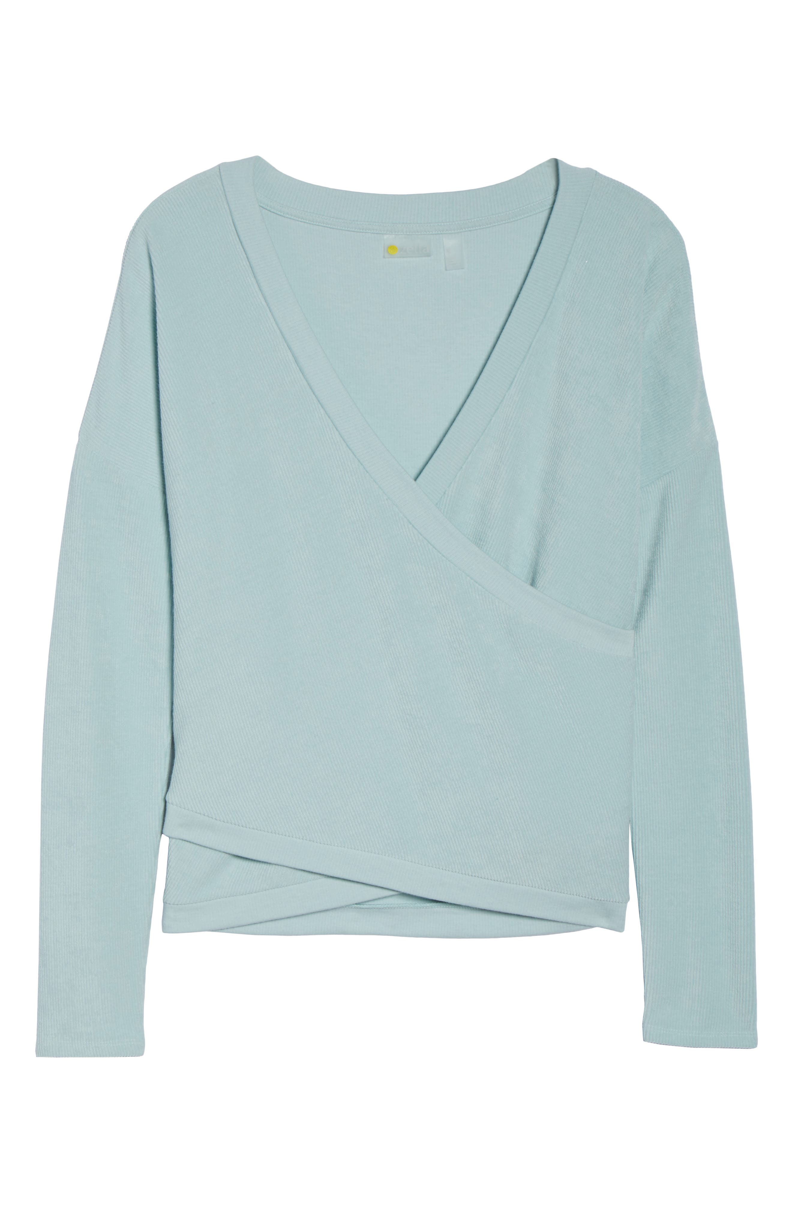 For the Love Faux Wrap Top,                             Alternate thumbnail 7, color,                             Teal Surf