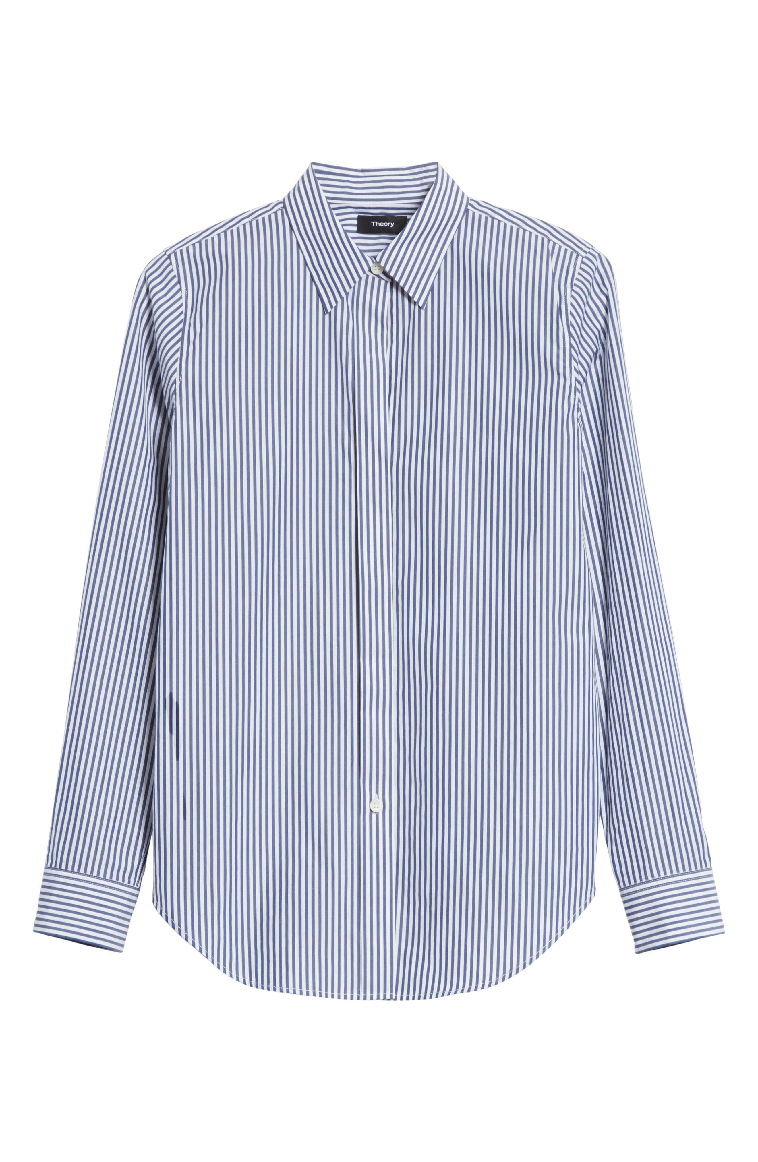 Essential Button Down Cotton Shirt,                             Alternate thumbnail 6, color,                             Blue/ White