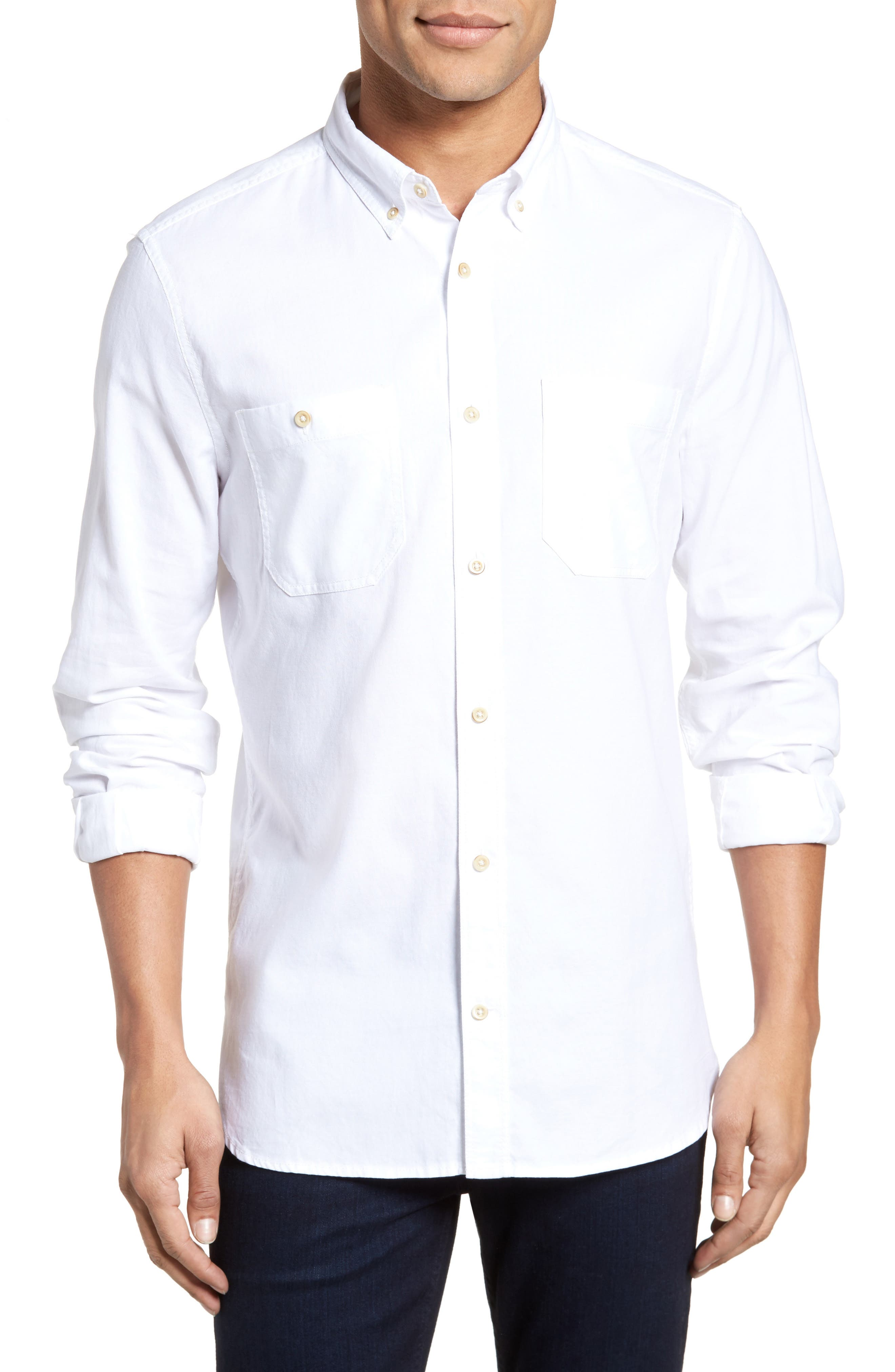Regular Fit Overwash Oxford Sports Shirt,                         Main,                         color, White