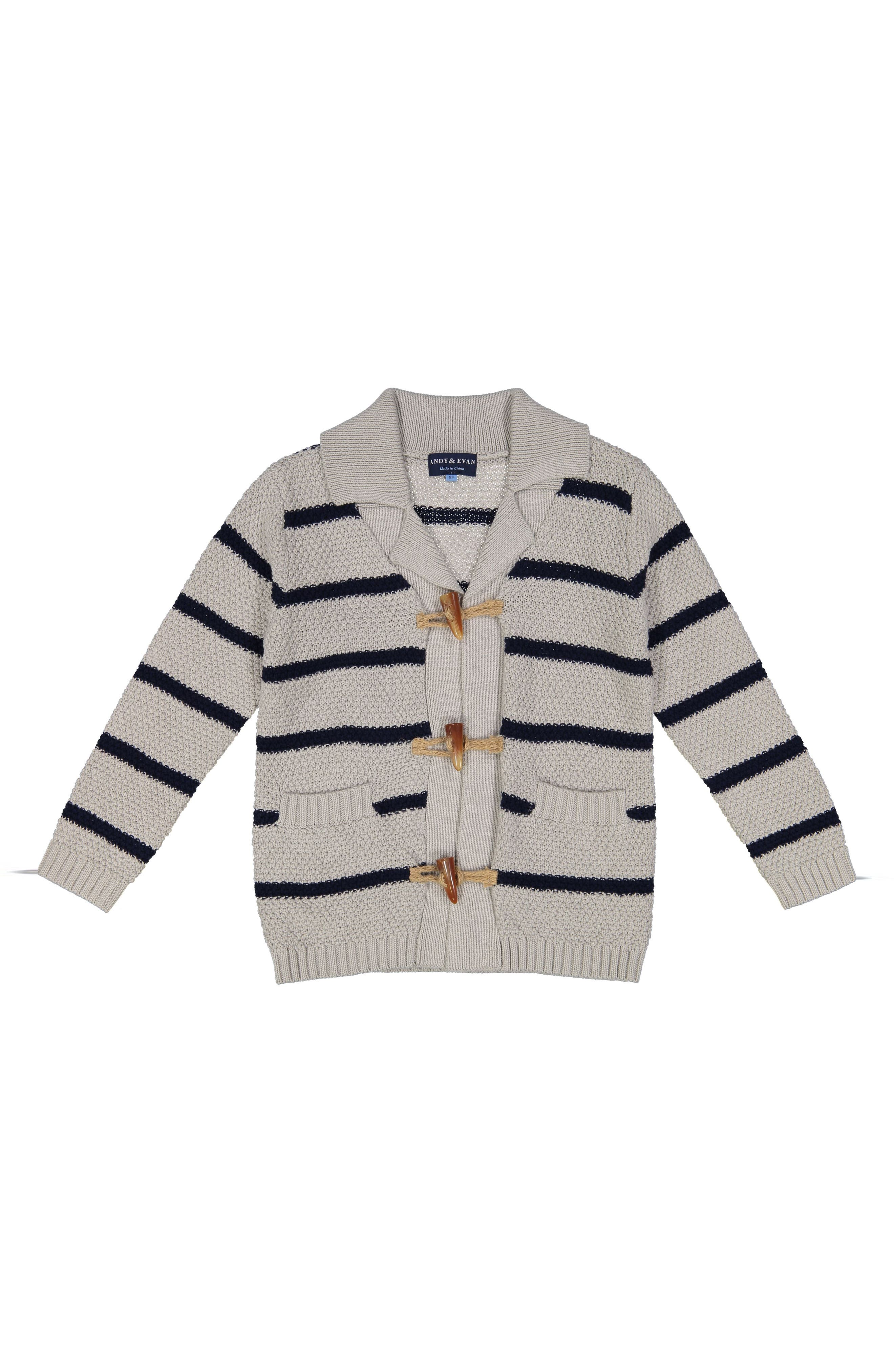 Main Image - Andy & Evan Stripe Toggle Cardigan (Baby Boys)
