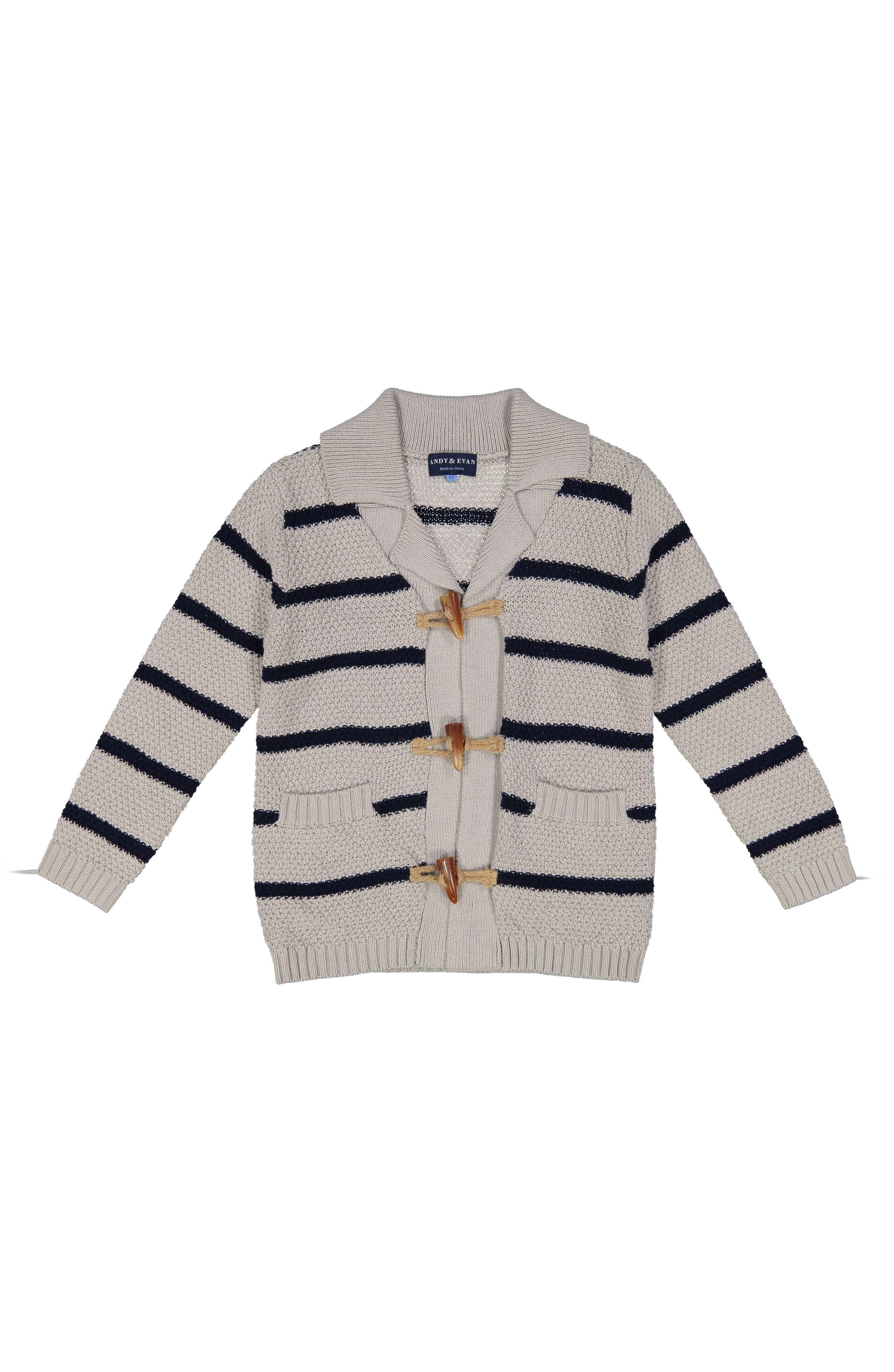 Stripe Toggle Cardigan,                         Main,                         color, White