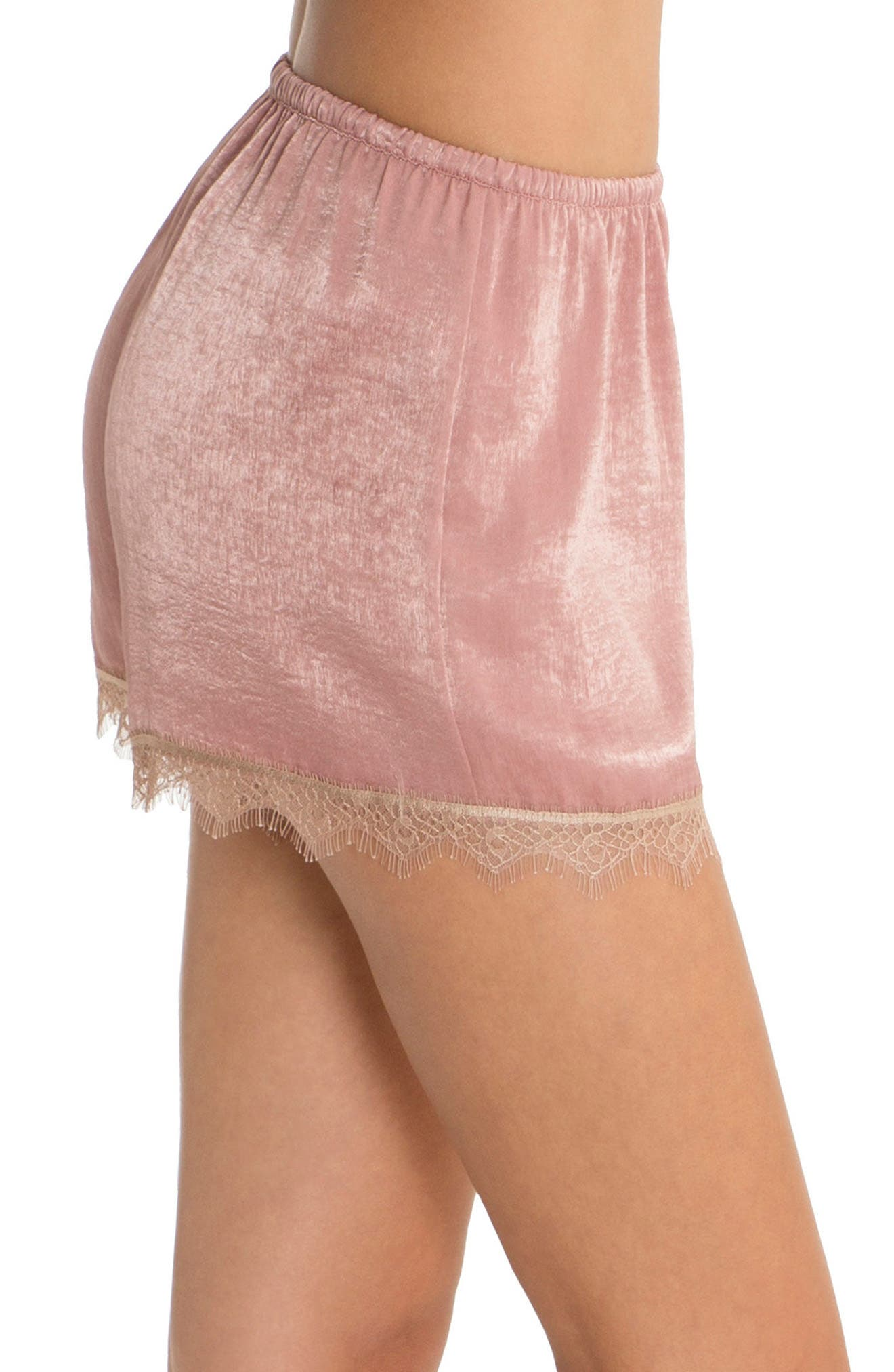 Satin Pajama Shorts,                             Alternate thumbnail 3, color,                             Rose