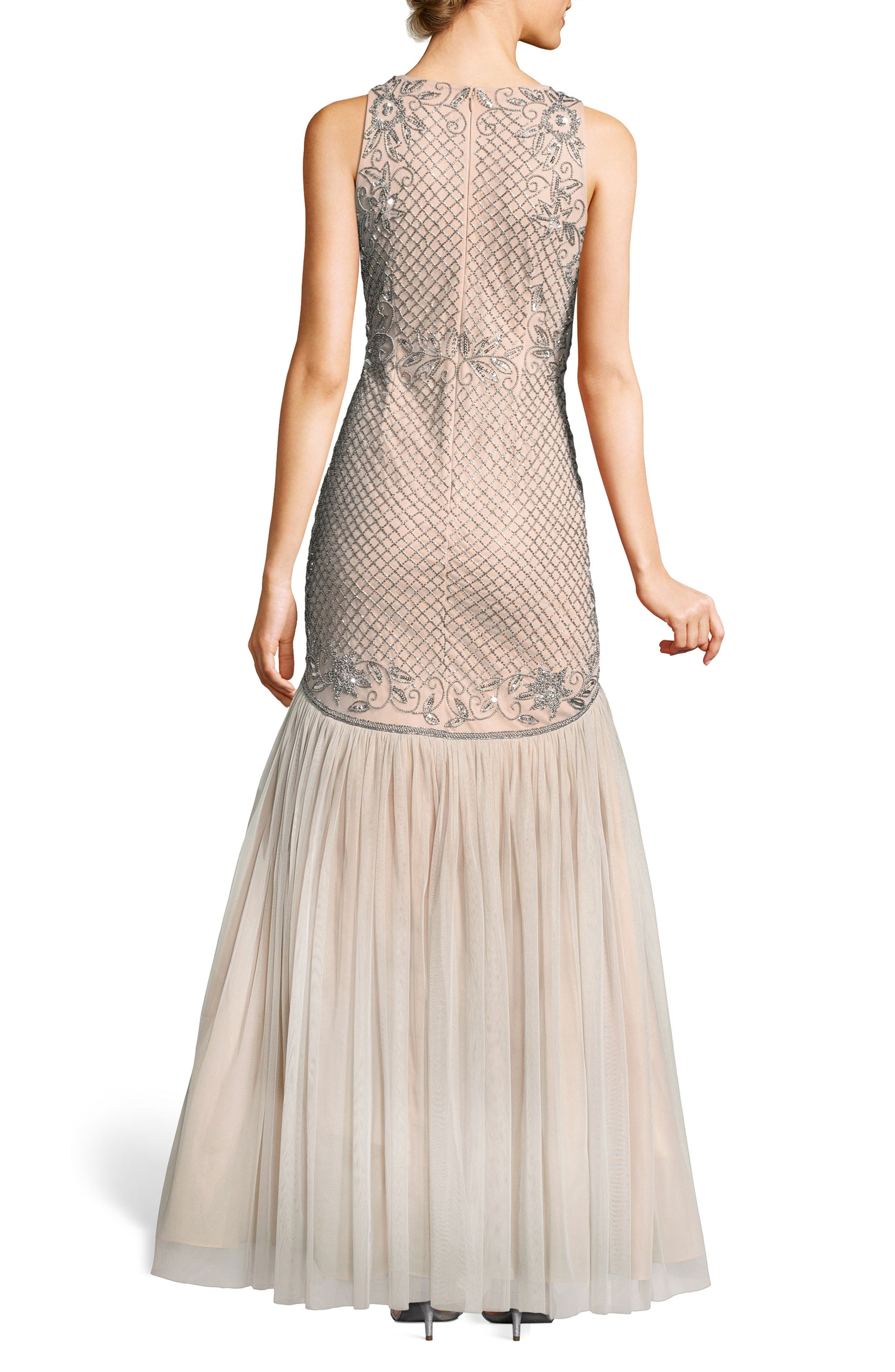 Beaded Tulle Trumpet Gown,                             Alternate thumbnail 2, color,                             Silver/ Nude