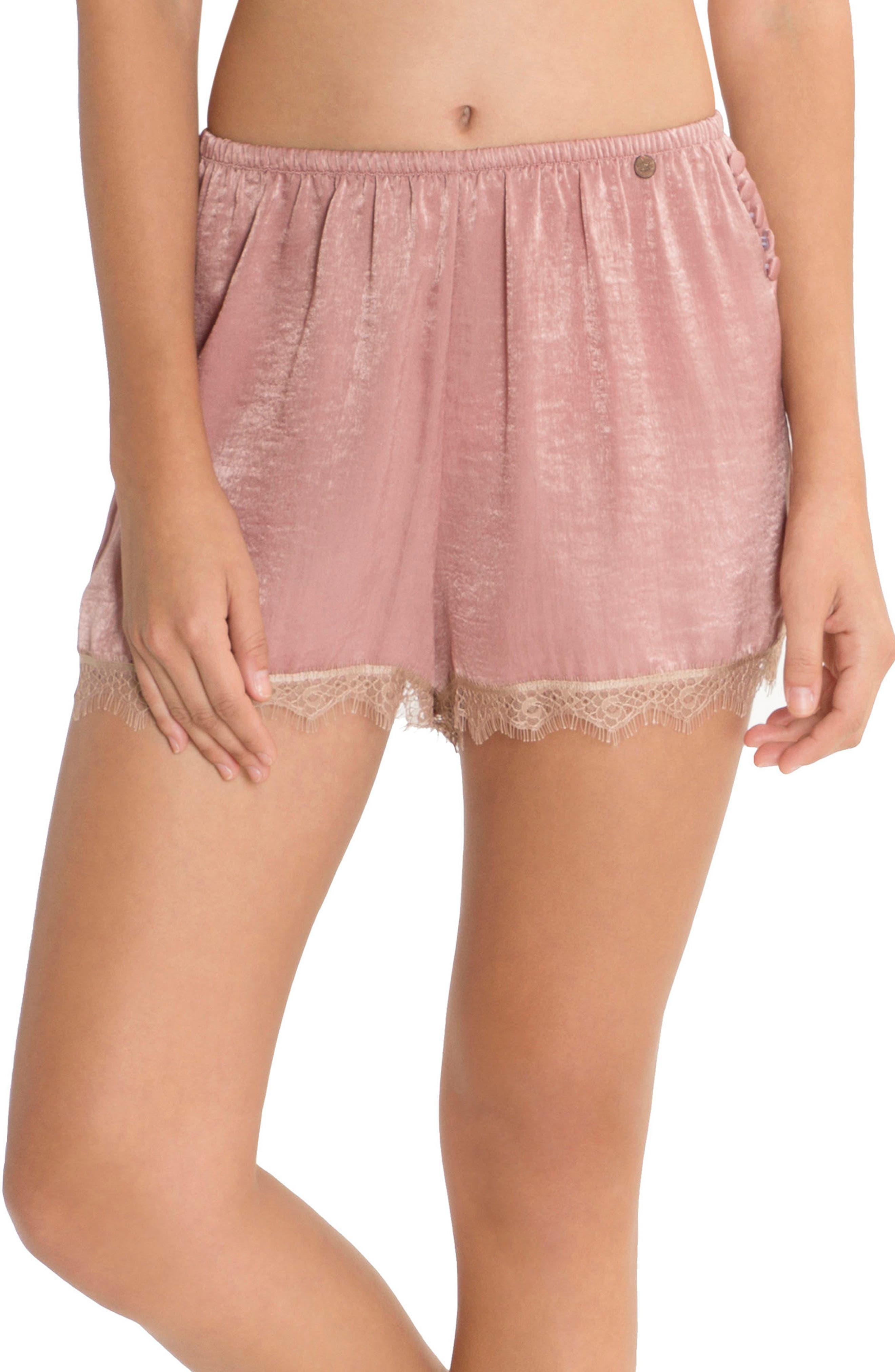 Satin Pajama Shorts,                         Main,                         color, Rose
