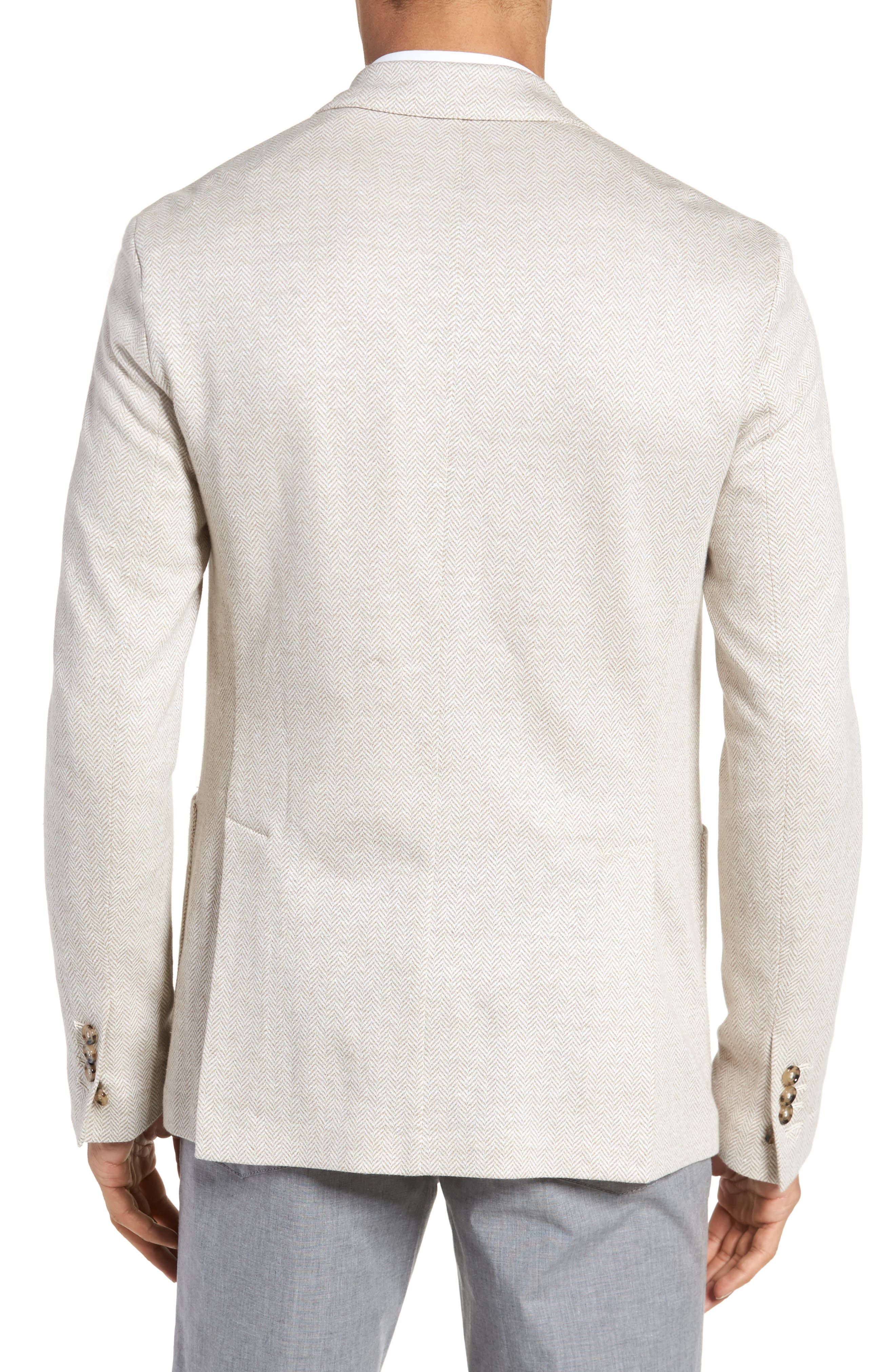 Trim Fit Herringbone Linen & Cotton Jacket,                             Alternate thumbnail 2, color,                             Sand