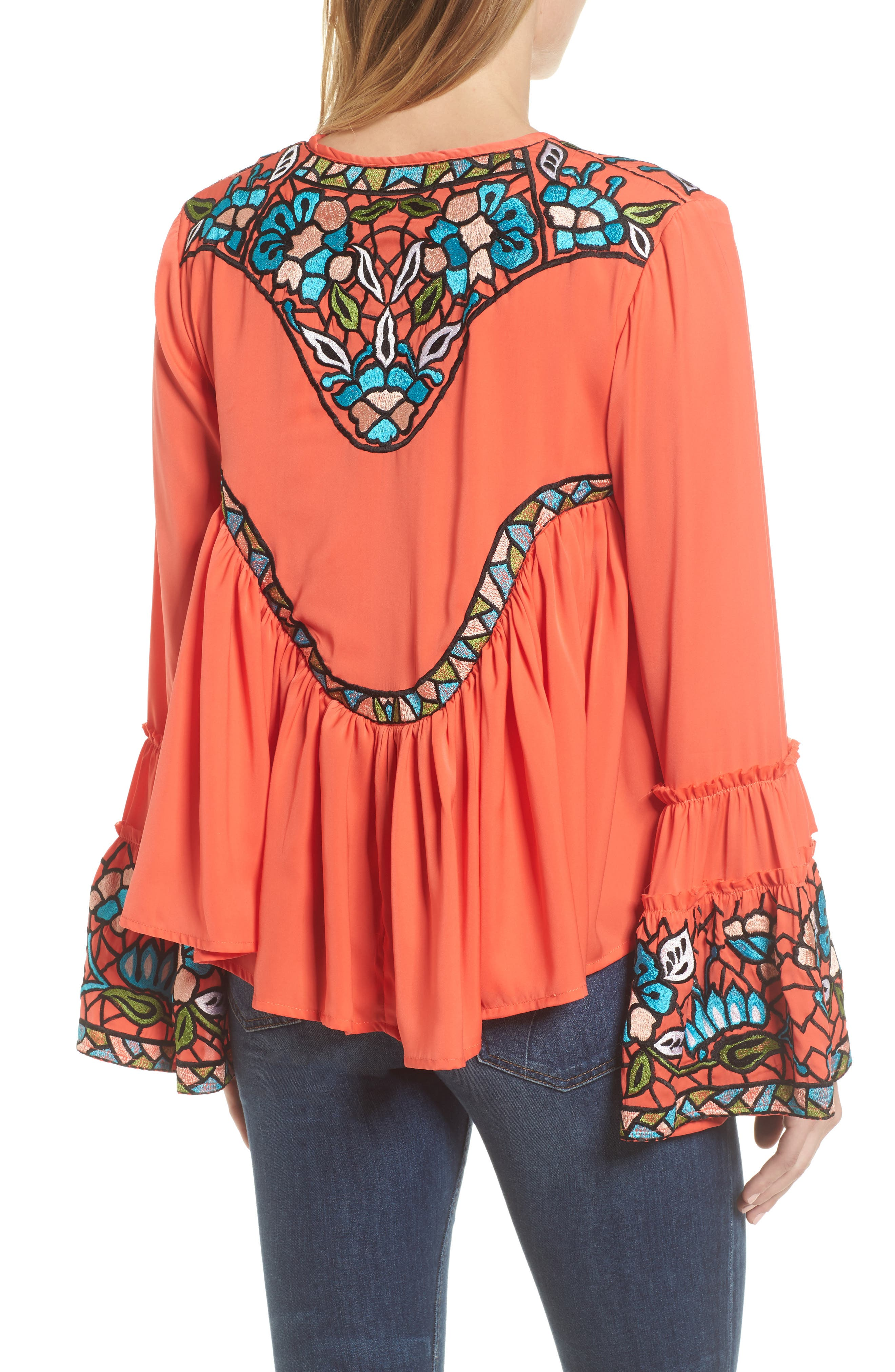 Malo Embroidered Button Blouse,                             Alternate thumbnail 2, color,                             Coral