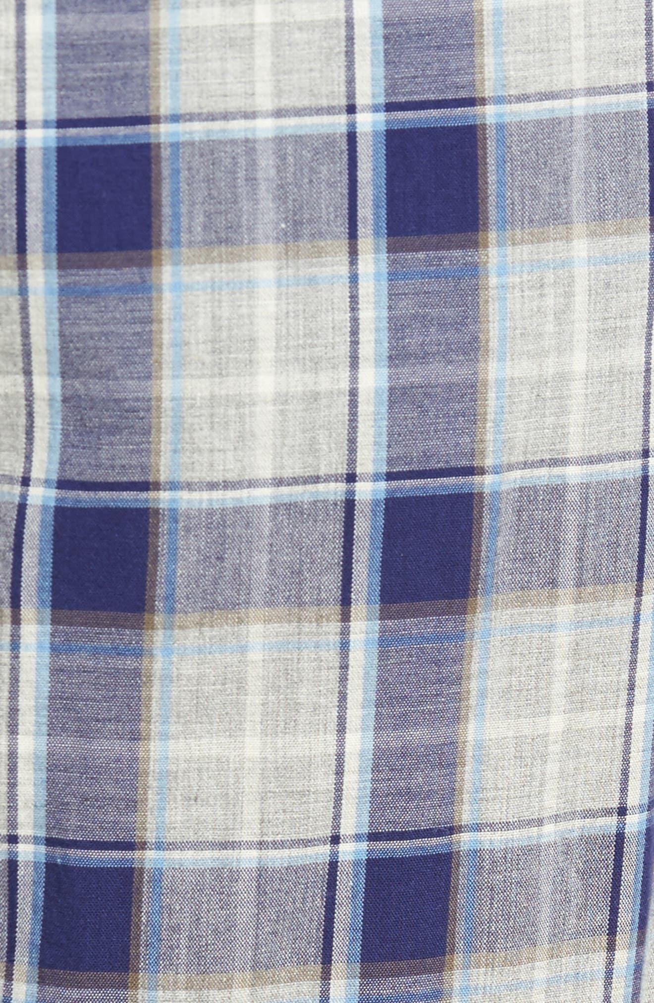 Flynn Plaid Cotton Lounge Pants,                             Alternate thumbnail 5, color,                             Navy