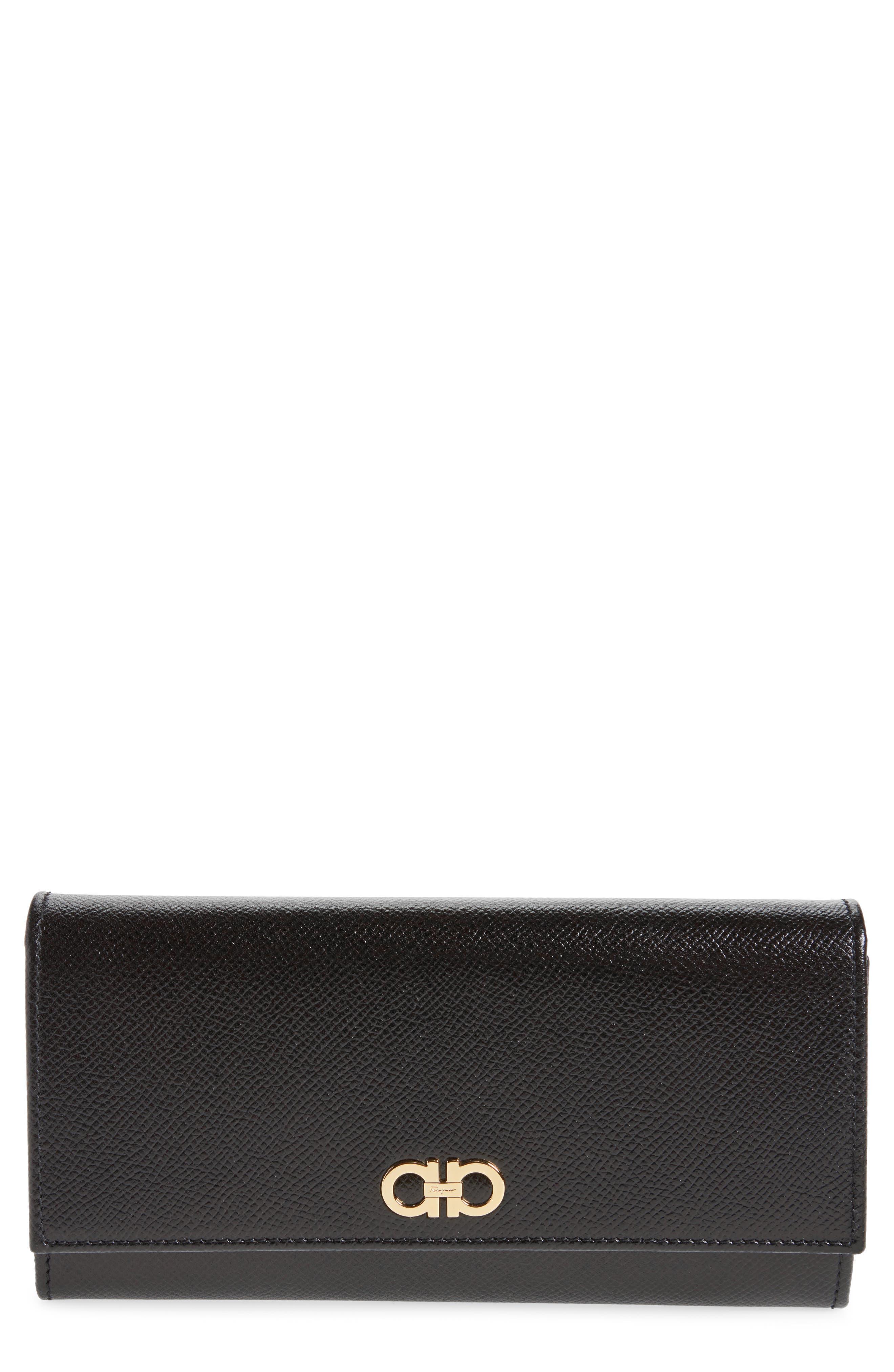 Gancio Leather Continental Wallet,                         Main,                         color, Nero