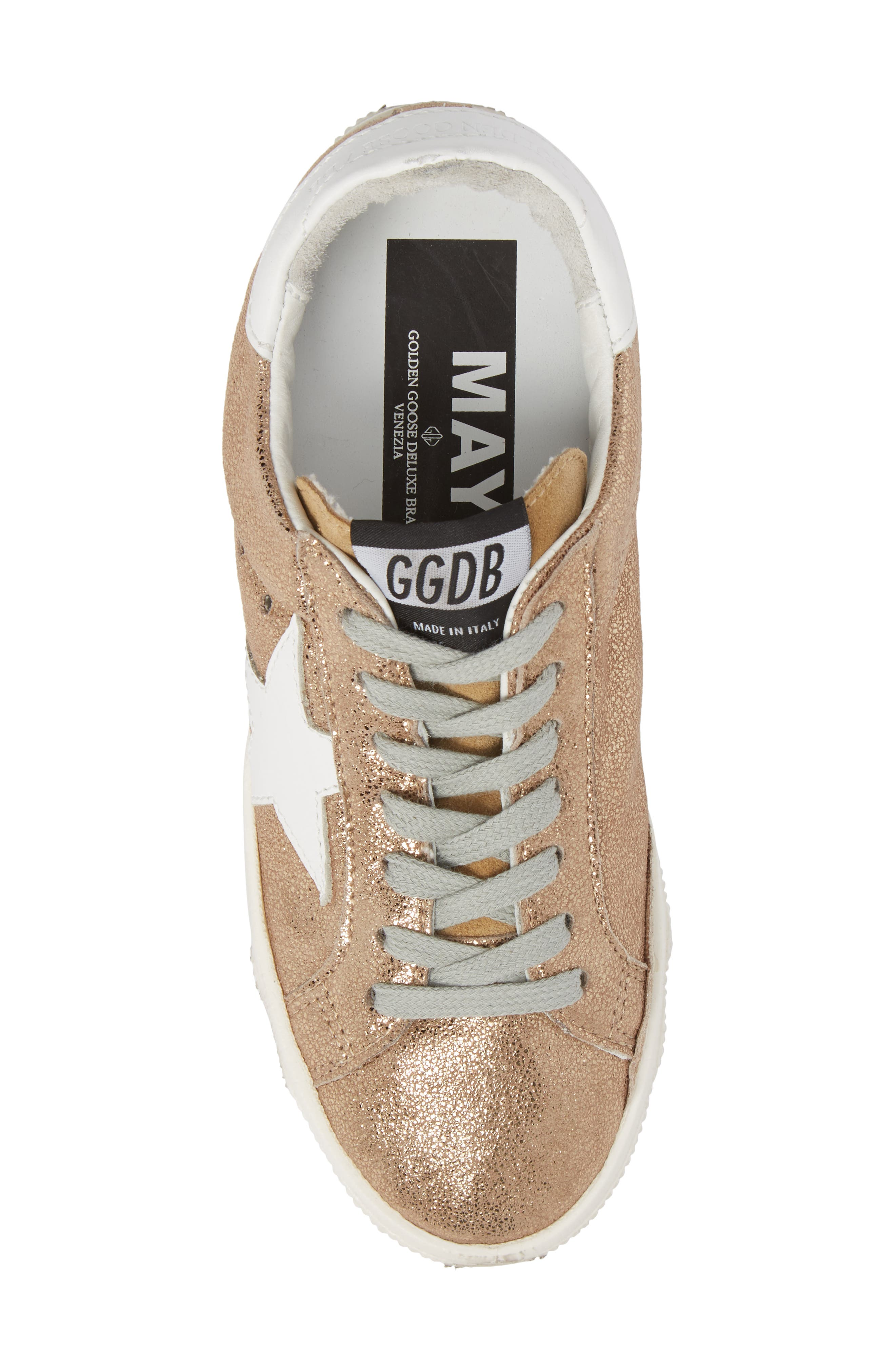 May Metallic Low Top Sneaker,                             Alternate thumbnail 5, color,                             Gold/ White