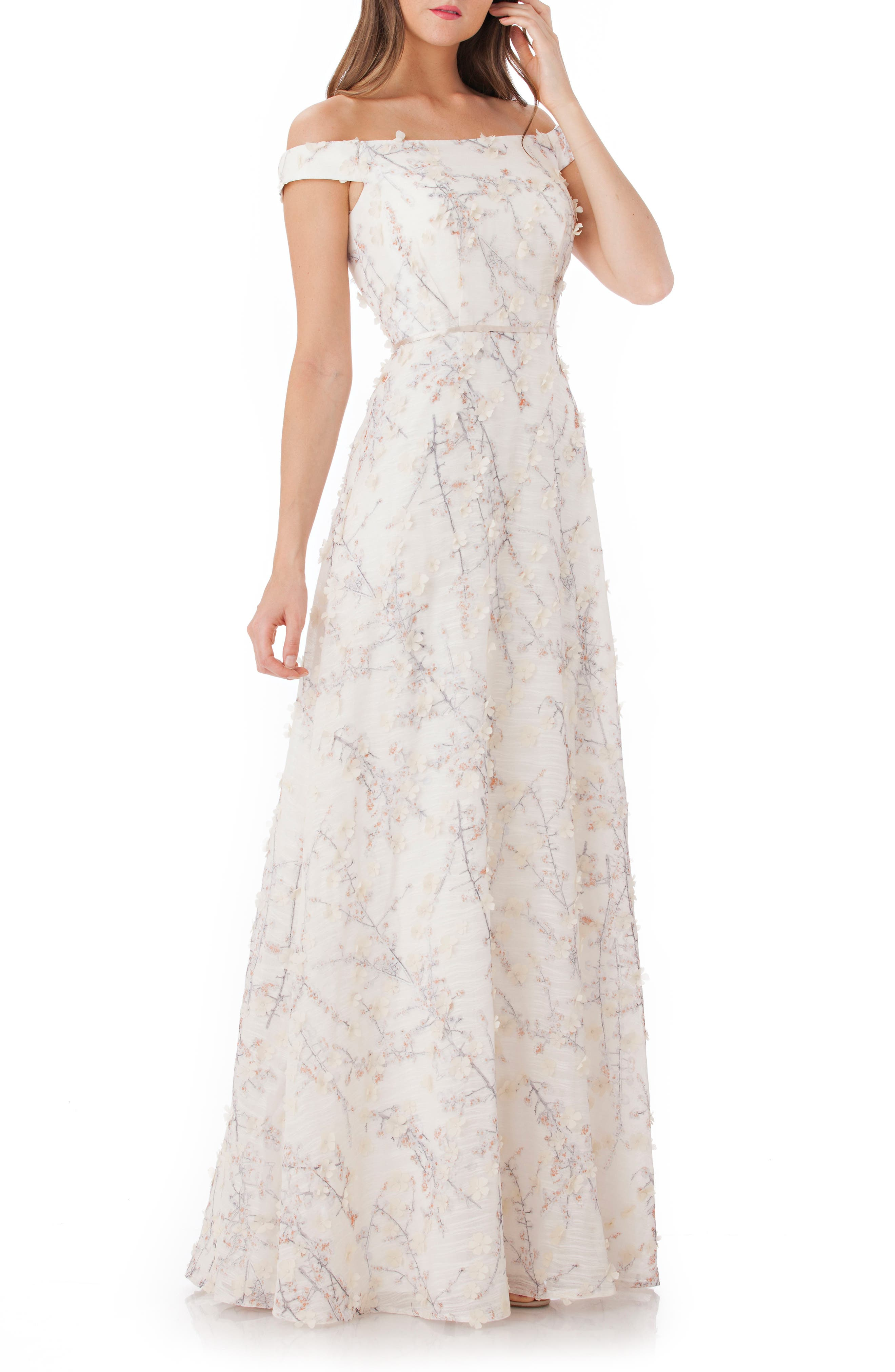 3D Embroidery Off the Shoulder Gown,                         Main,                         color, Champagne