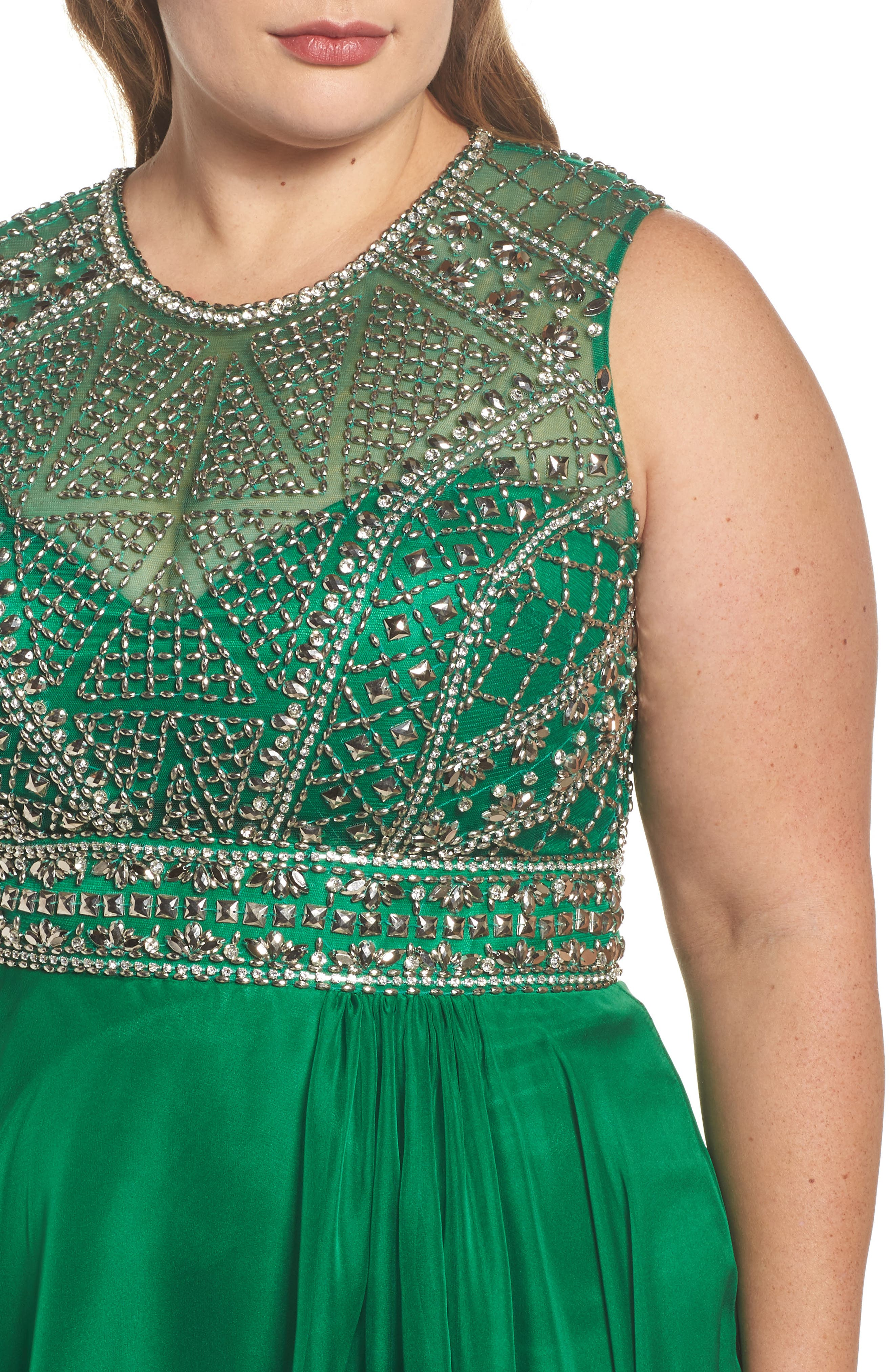 Embellished Ballgown,                             Alternate thumbnail 4, color,                             Emerald