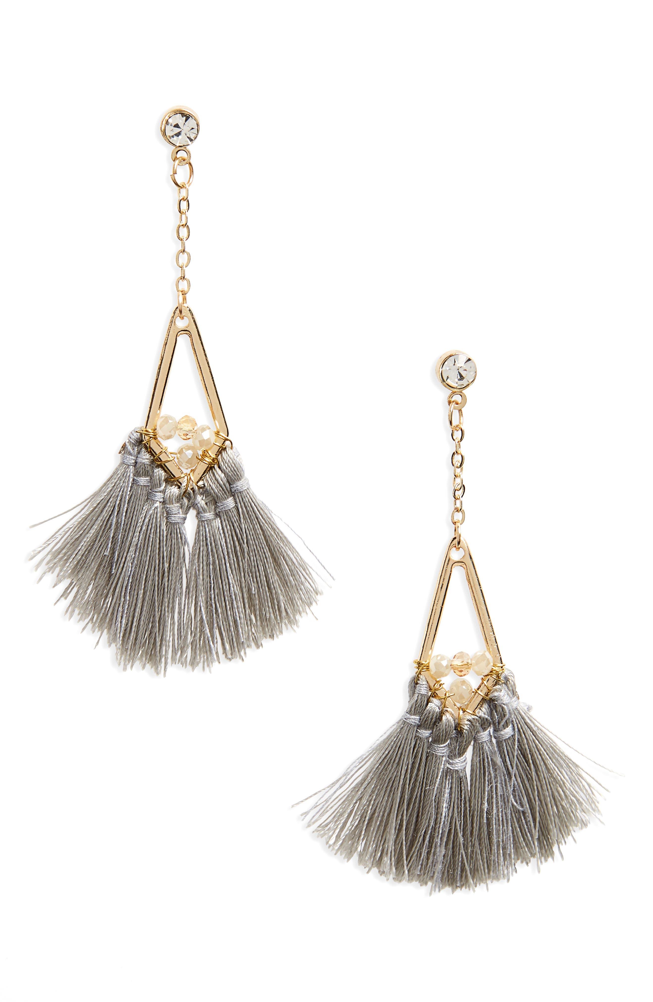 Tassel Fan Drop Earrings,                             Main thumbnail 1, color,                             Gold/ Crystal/ Gray