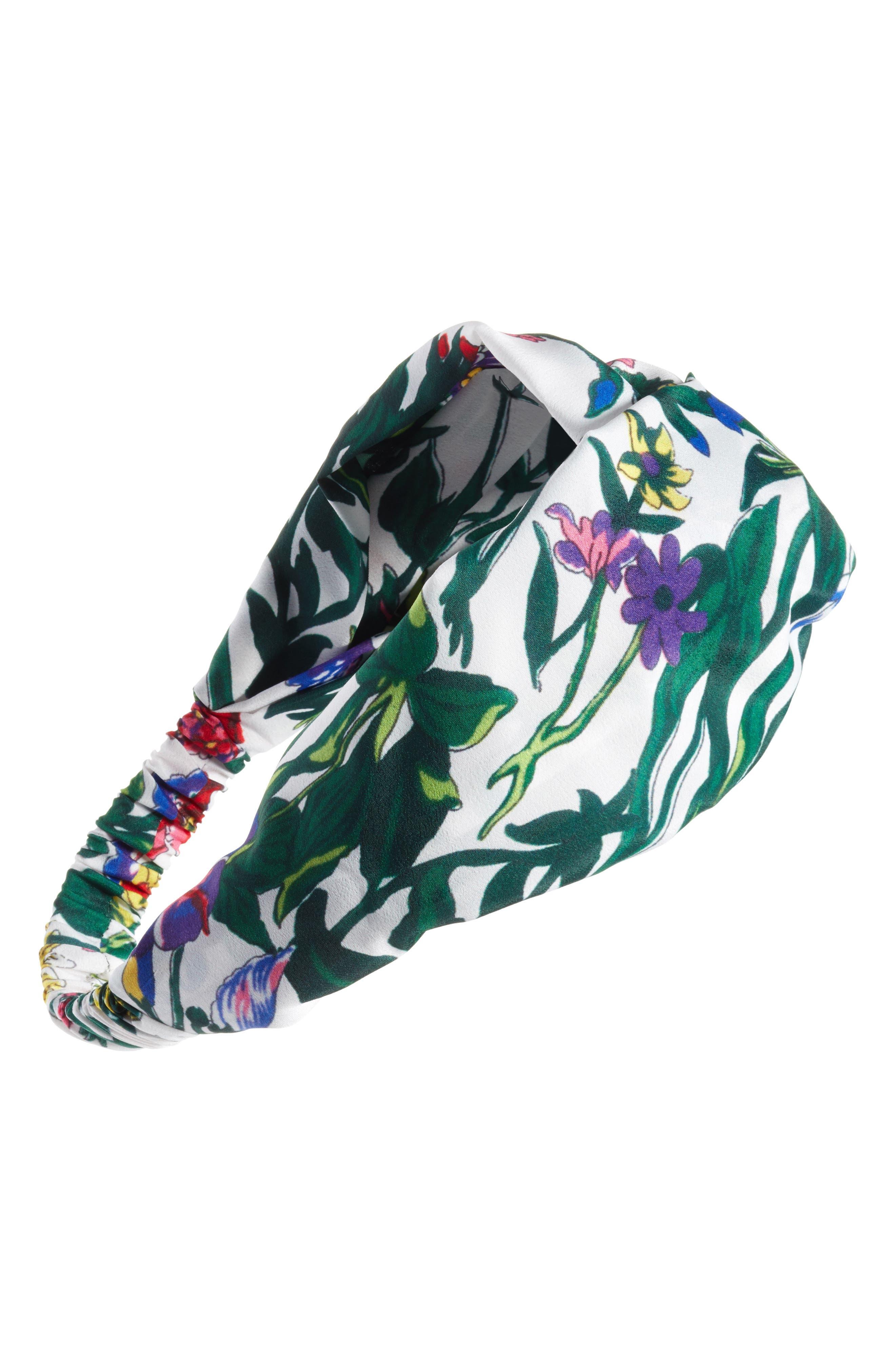 Floral Garden Print Head Wrap,                             Main thumbnail 1, color,                             White Multi